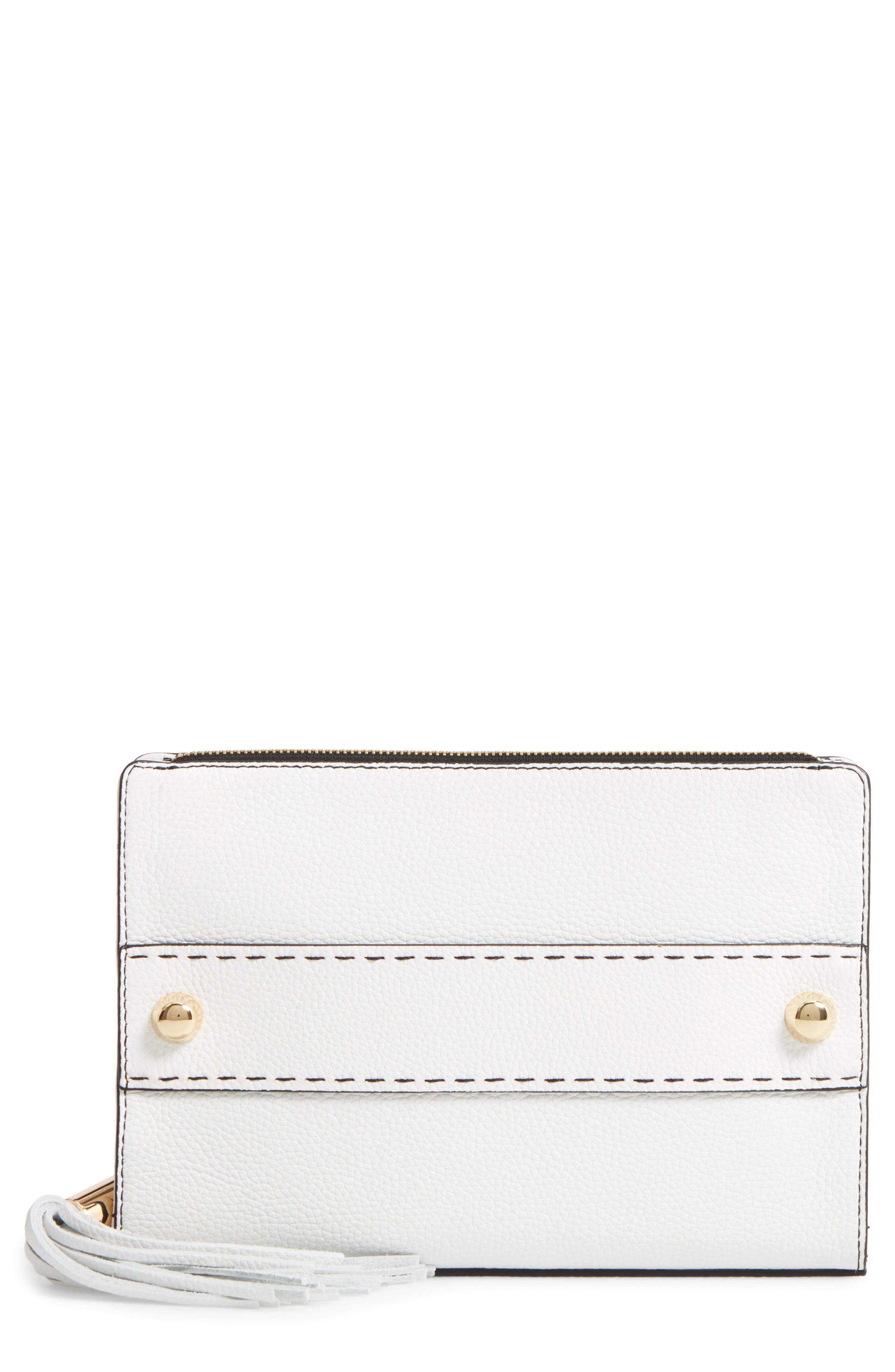 Astor Leather Clutch,                             Main thumbnail 1, color,                             White
