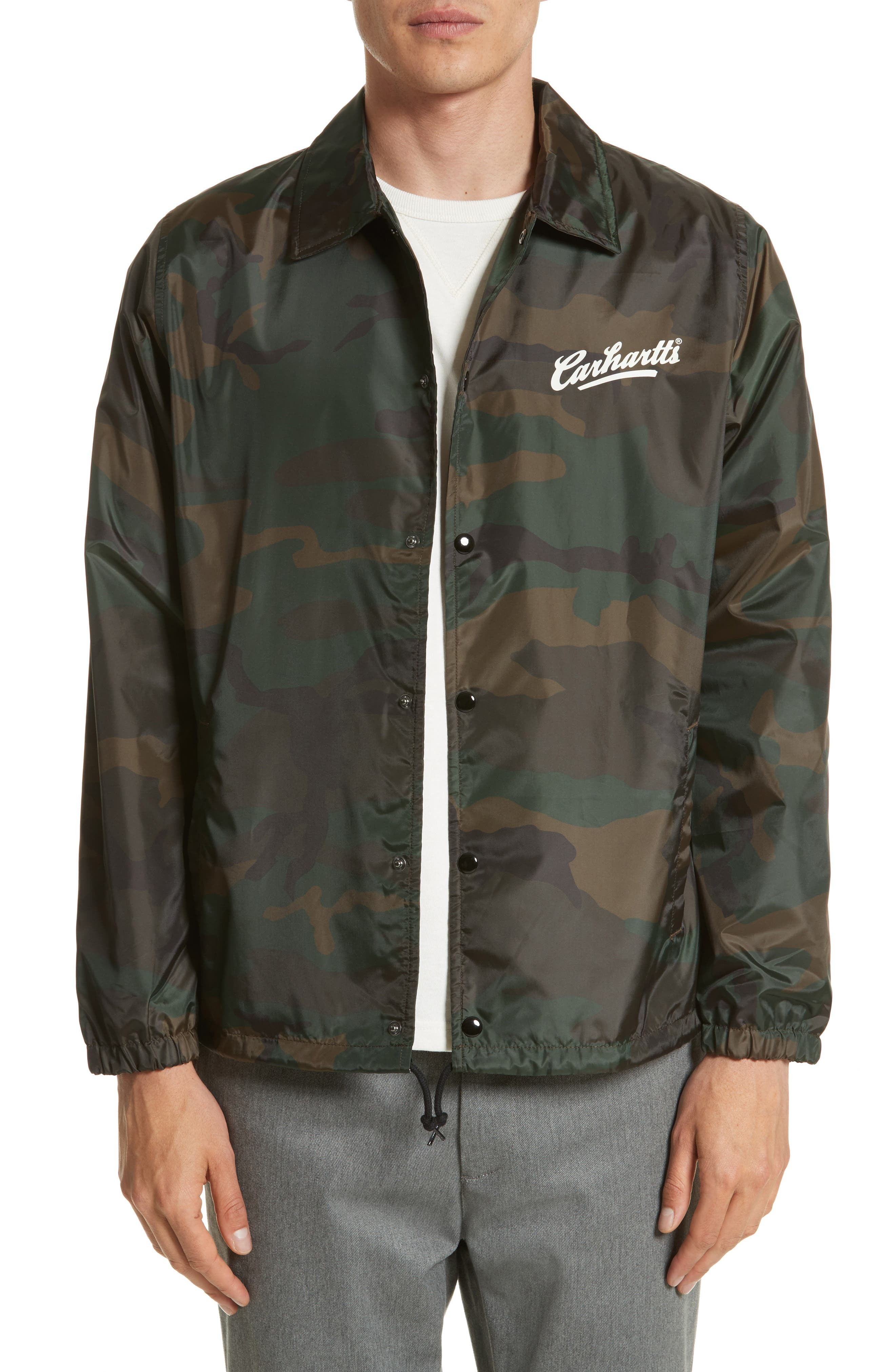 Camo Print Coach Jacket,                             Main thumbnail 1, color,                             Camo Combat Green/White