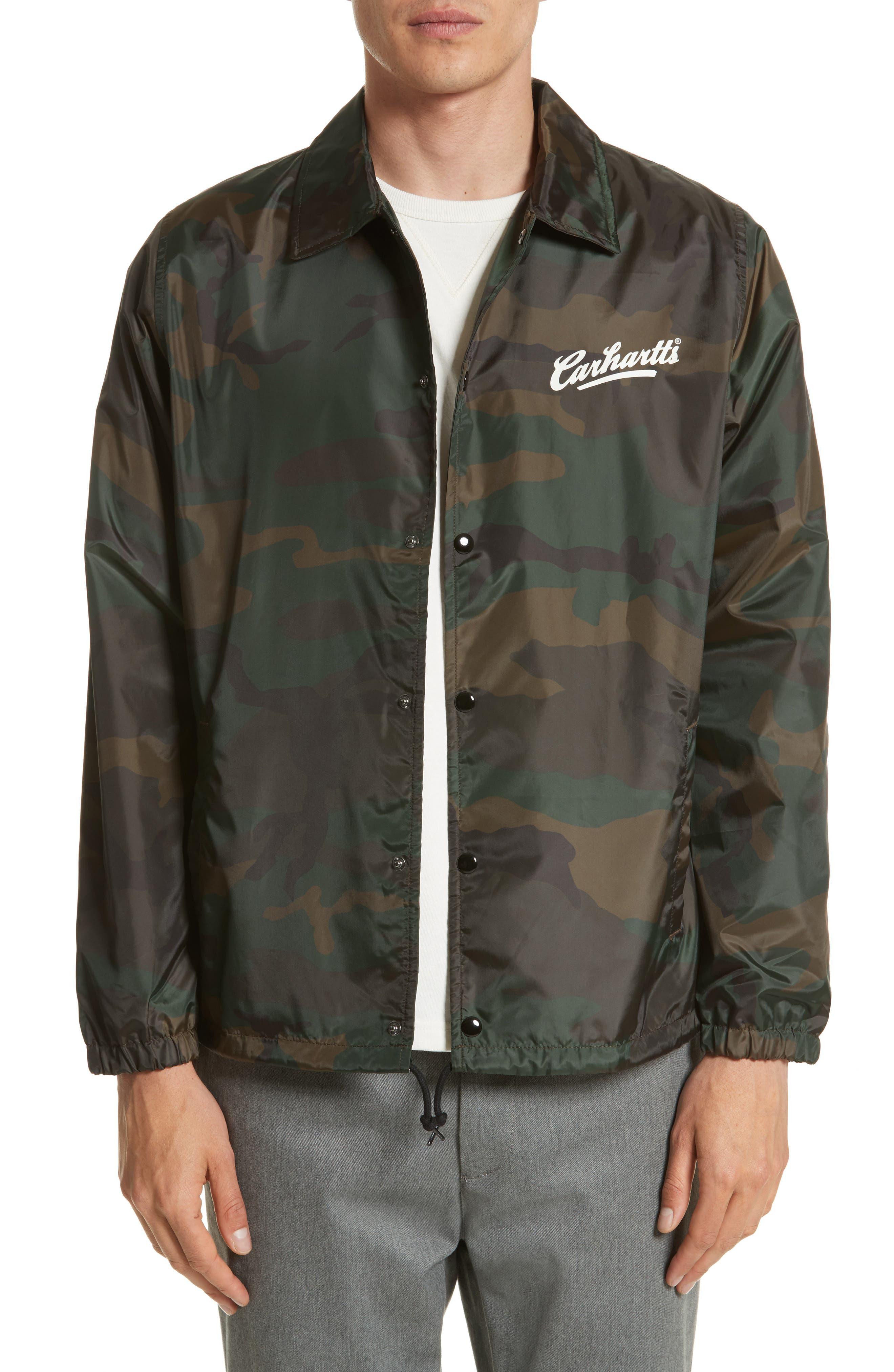 Camo Print Coach Jacket,                         Main,                         color, Camo Combat Green/White