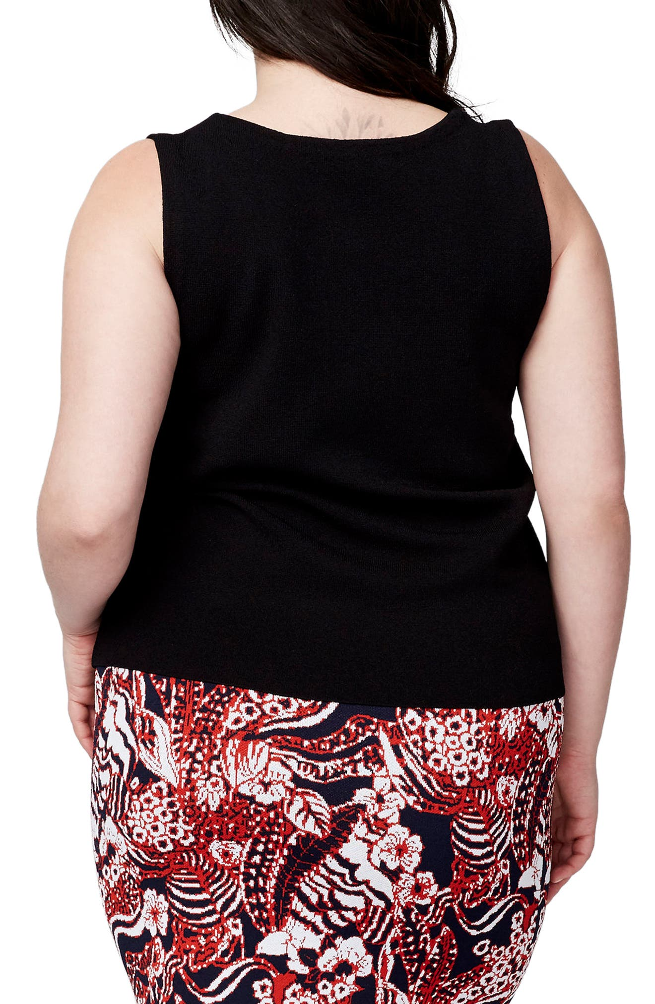 Alternate Image 2  - RACHEL Rachel Roy V-Neck Knit Shell (Plus Size)