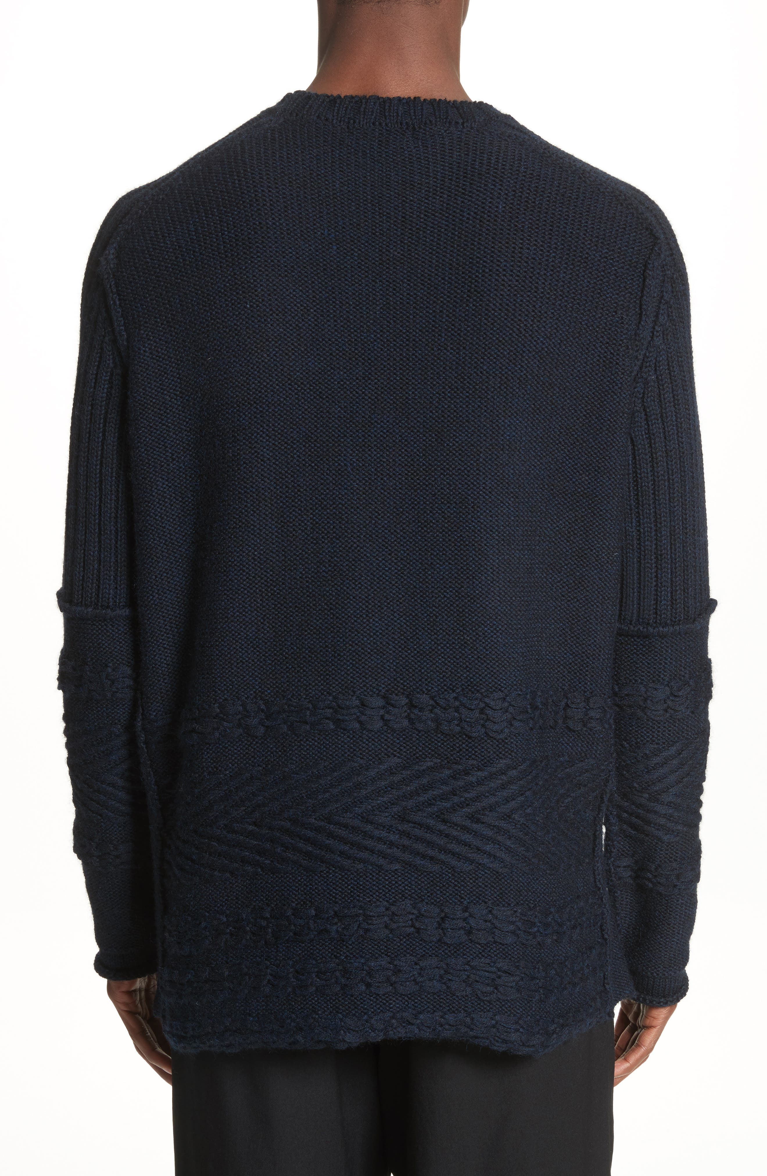Mixed Knit Wool Sweater,                             Alternate thumbnail 2, color,                             Navy