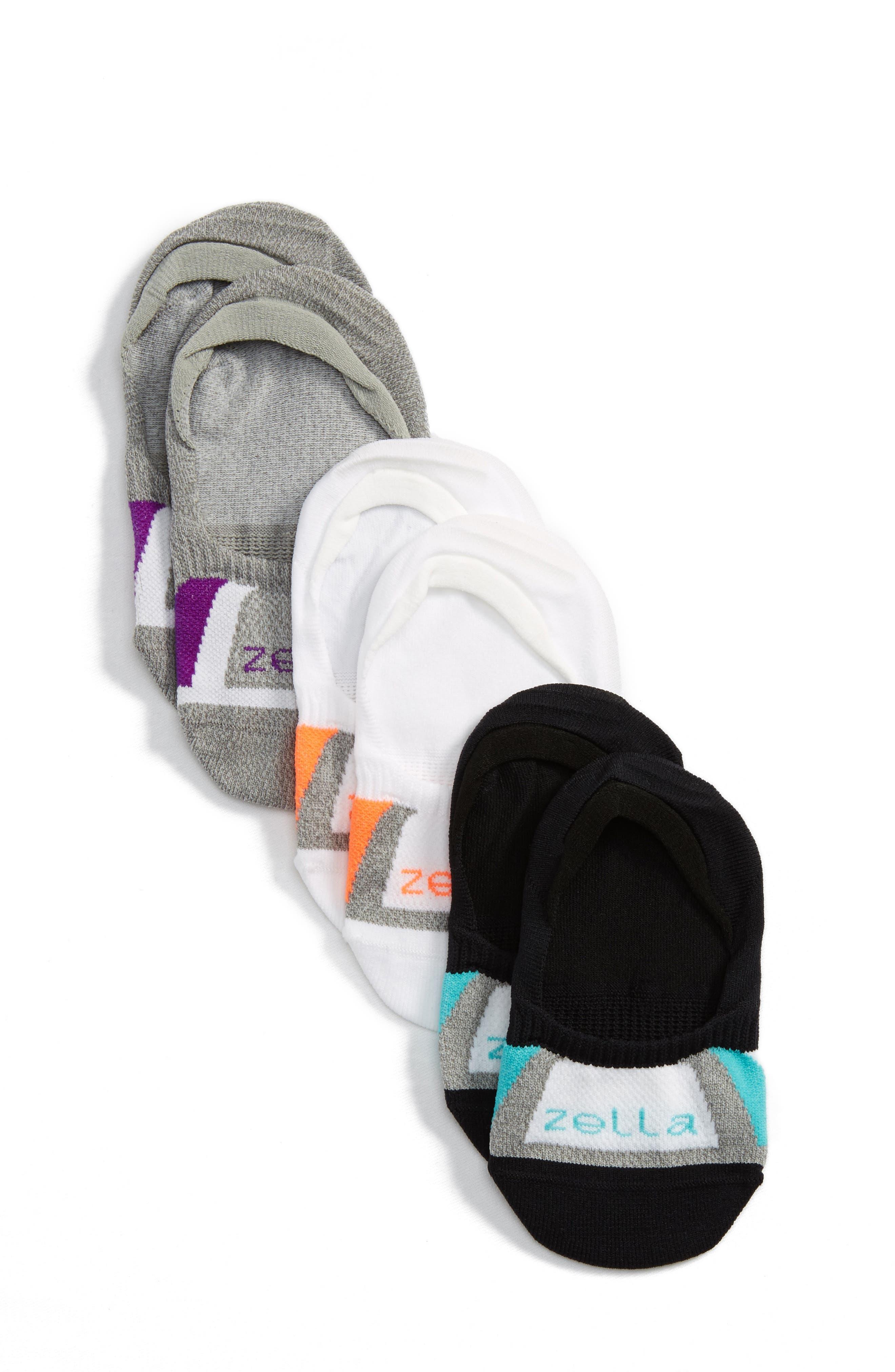 Secret 3-Pack No-Show Socks,                         Main,                         color, Orange Shocking