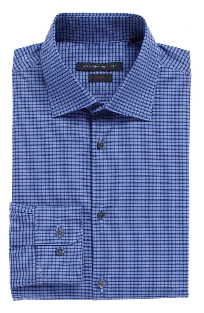 John varvatos star usa slim fit stretch check dress shirt for Slim fit check shirt
