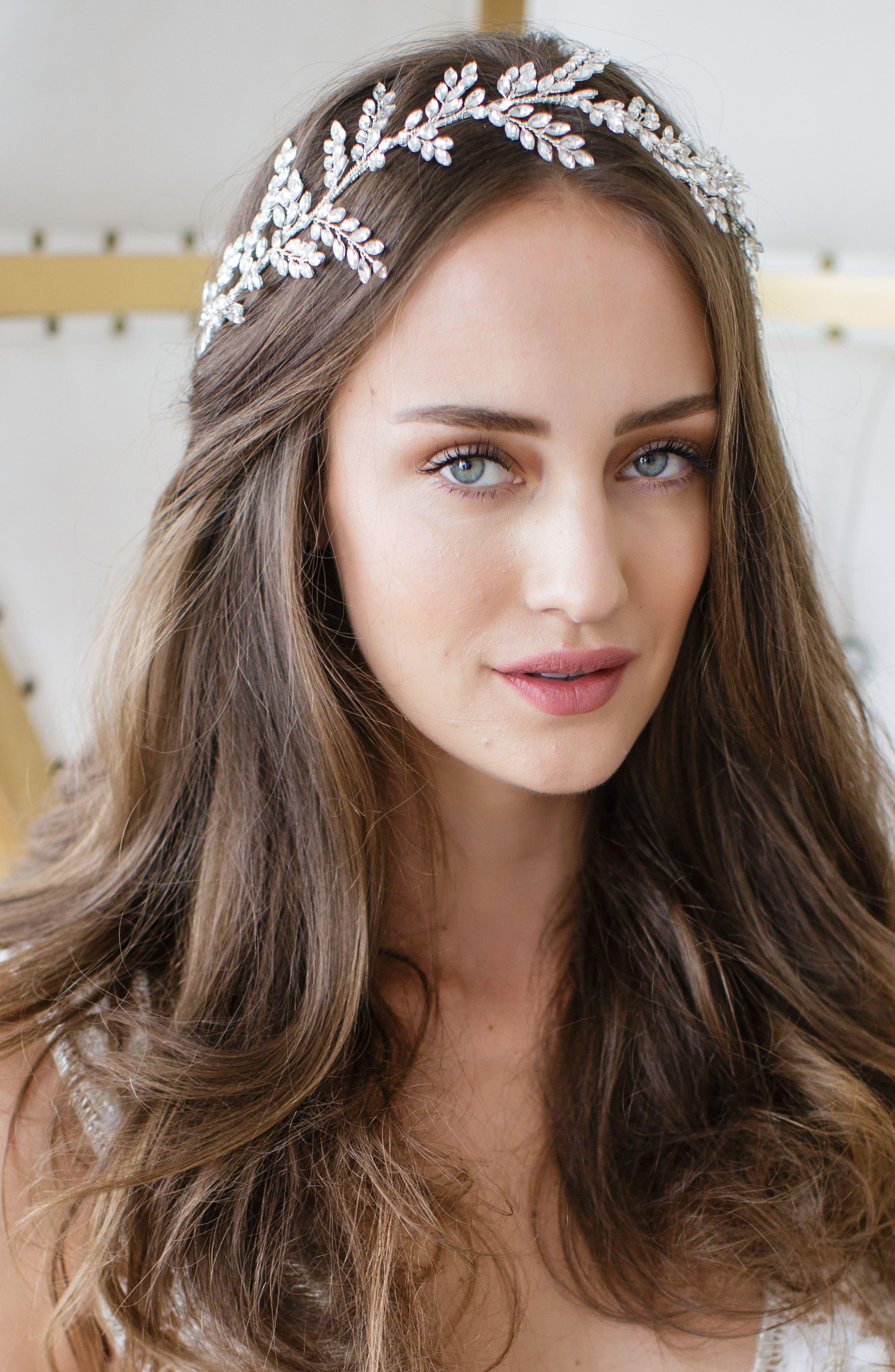 Alternate Image 1 Selected - Brides & Hairpins Kira Crystal Halo & Sash