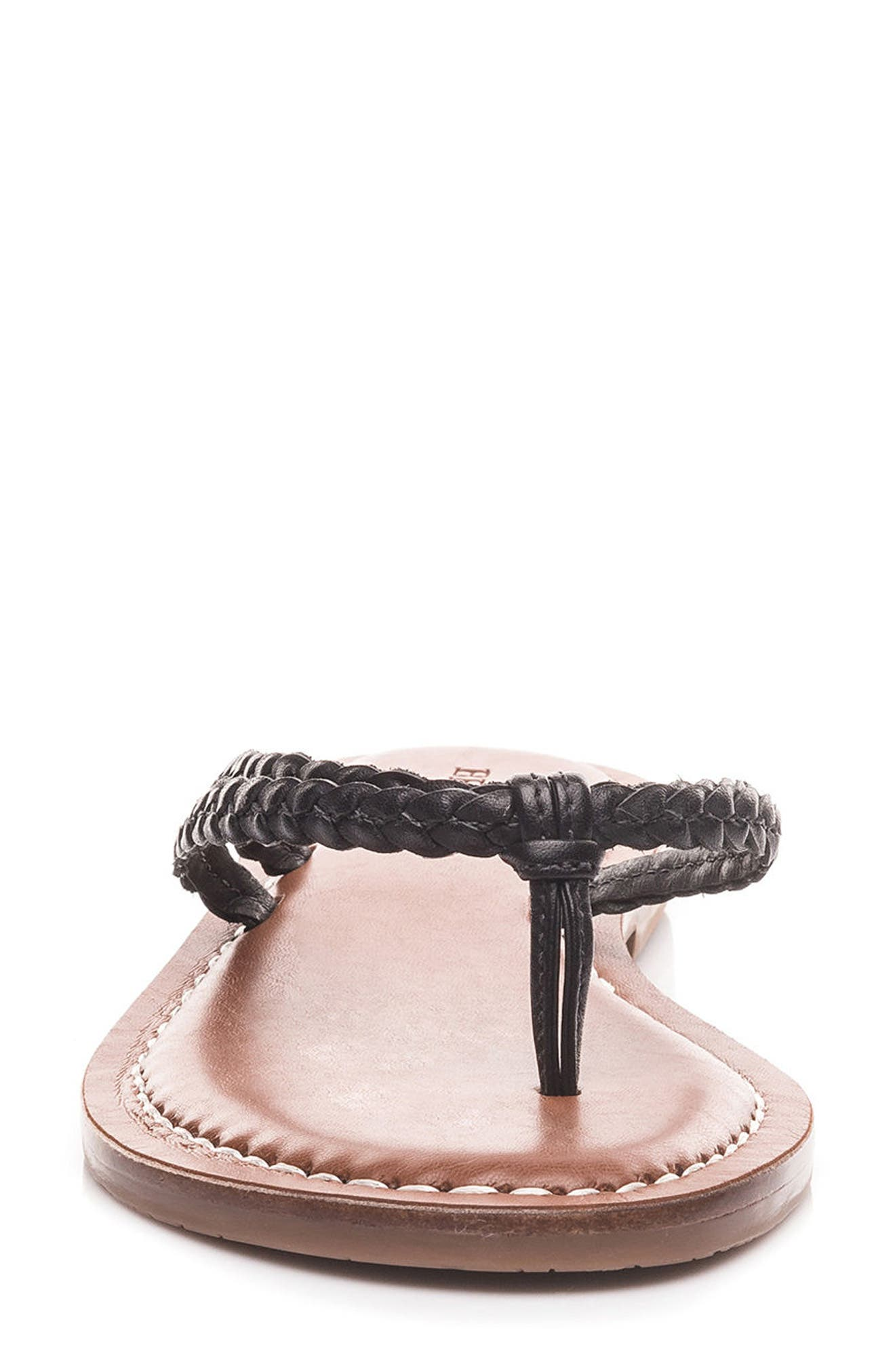 Bernardo Greta Braided Strap Sandal,                             Alternate thumbnail 4, color,                             Black Leather