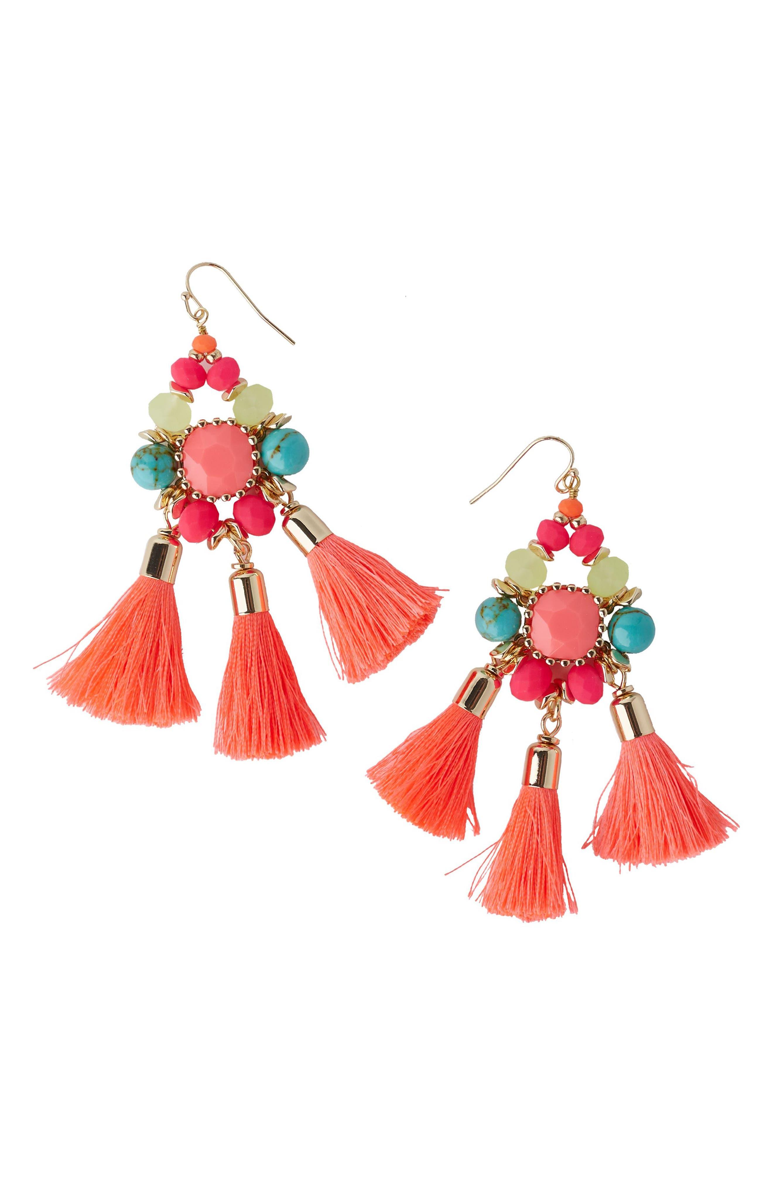 Boho Beach Drop Earrings,                         Main,                         color, Multi