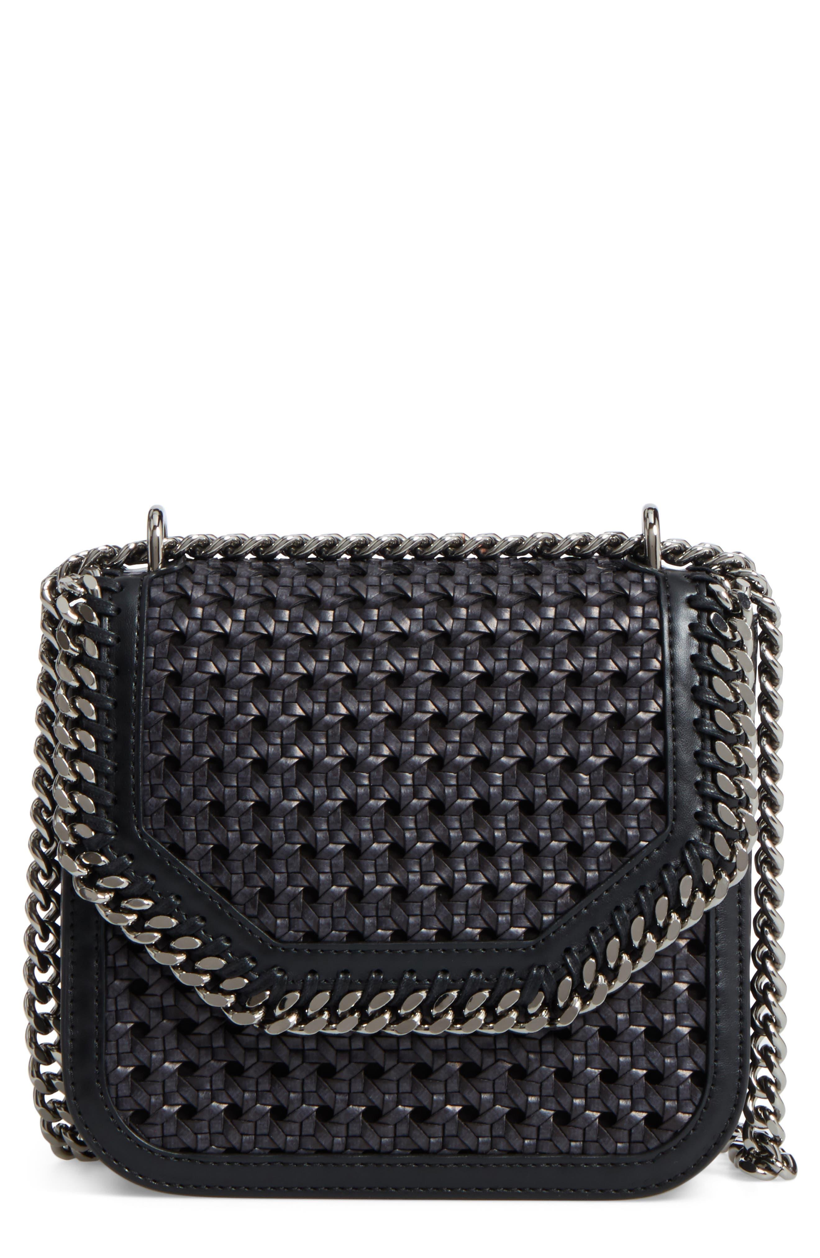 Stella McCartney Falabella Box Woven Faux Leather Shoulder Bag