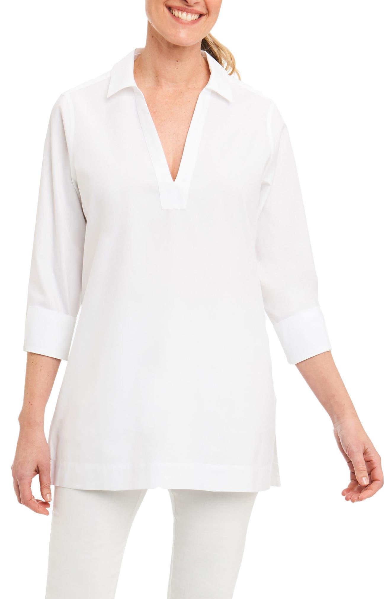 Foxcroft Nora Non-Iron Cotton Tunic (Regular & Petite)