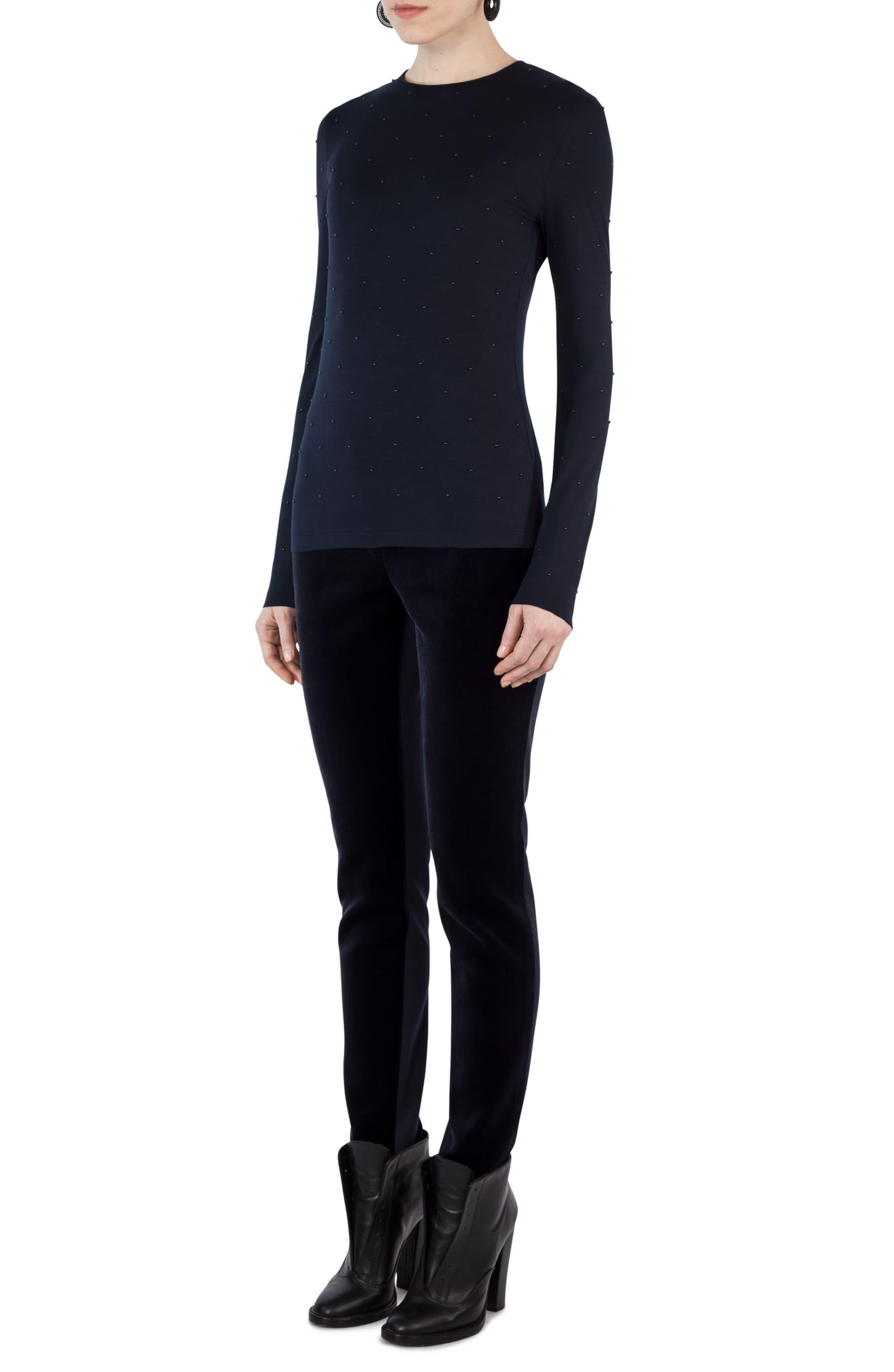 Alternate Image 3  - Akris punto Studded Jersey Shirt