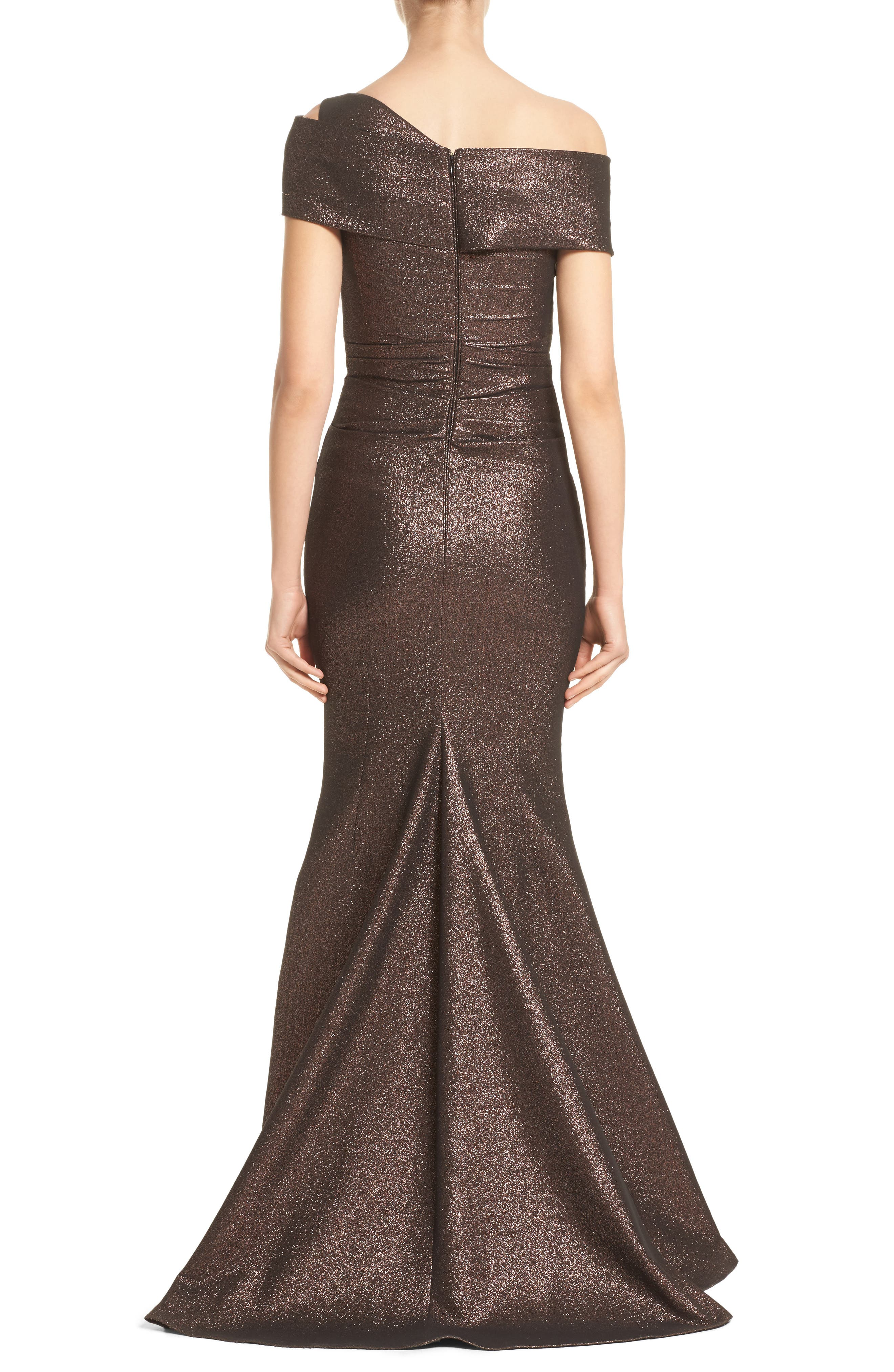 Glitter Knit Asymmetrical Mermaid Gown,                             Alternate thumbnail 2, color,                             Copper