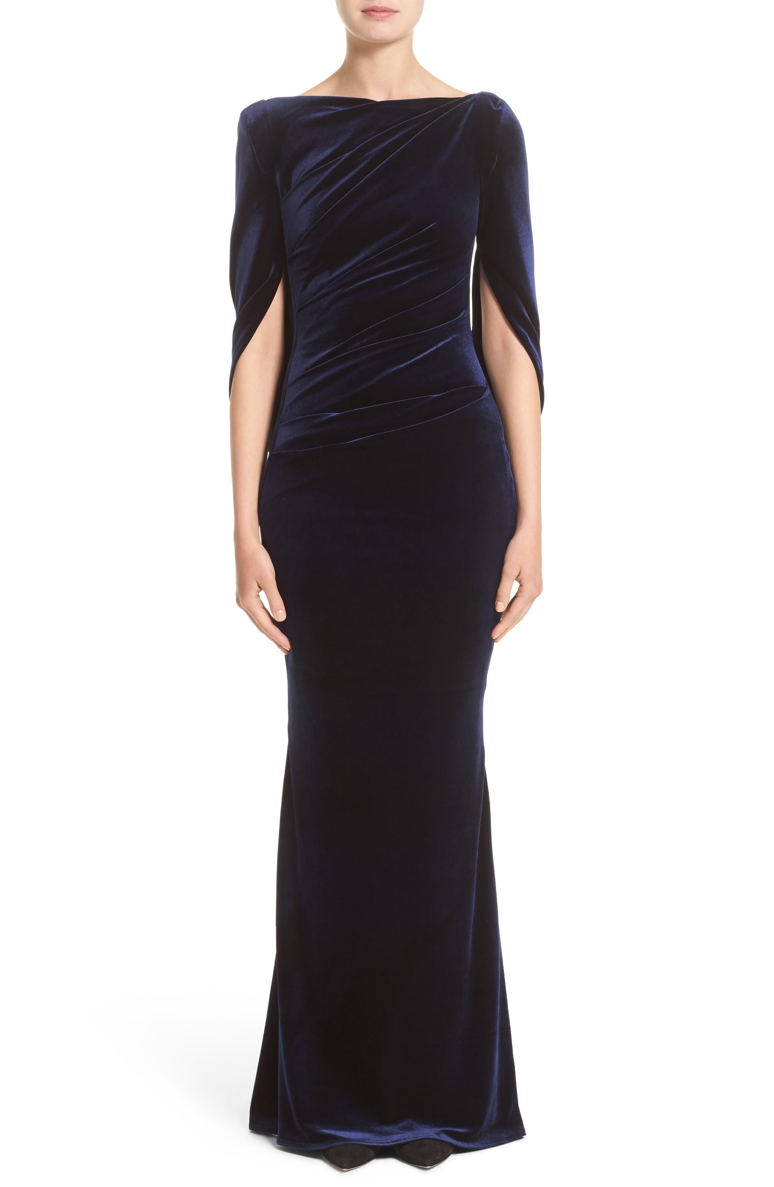 Velvet Column Gown,                             Main thumbnail 1, color,                             Moonlight