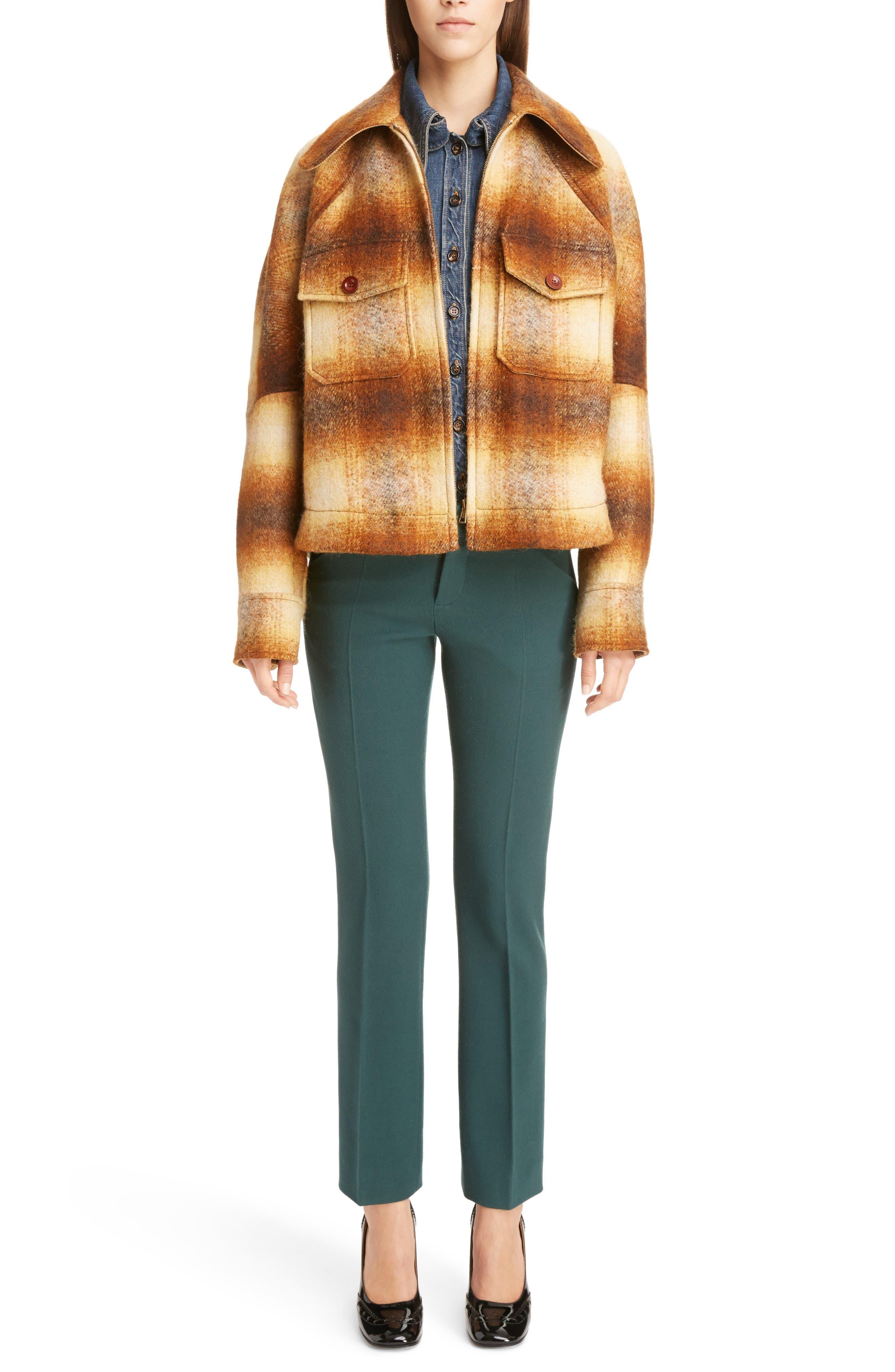 Mohair Blend Check Lumber Jacket,                             Alternate thumbnail 2, color,                             Multicolor Brown