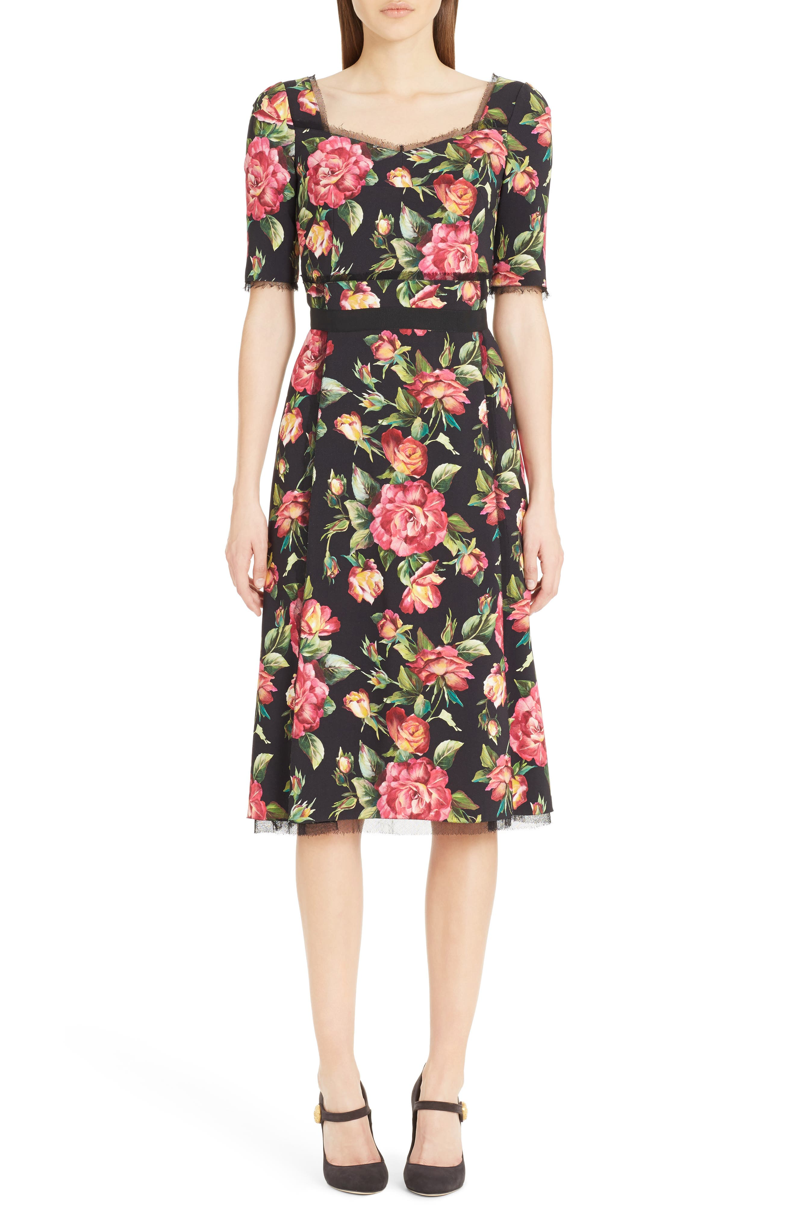 Rose Print Cady A-Line Dress,                         Main,                         color, Rose Print