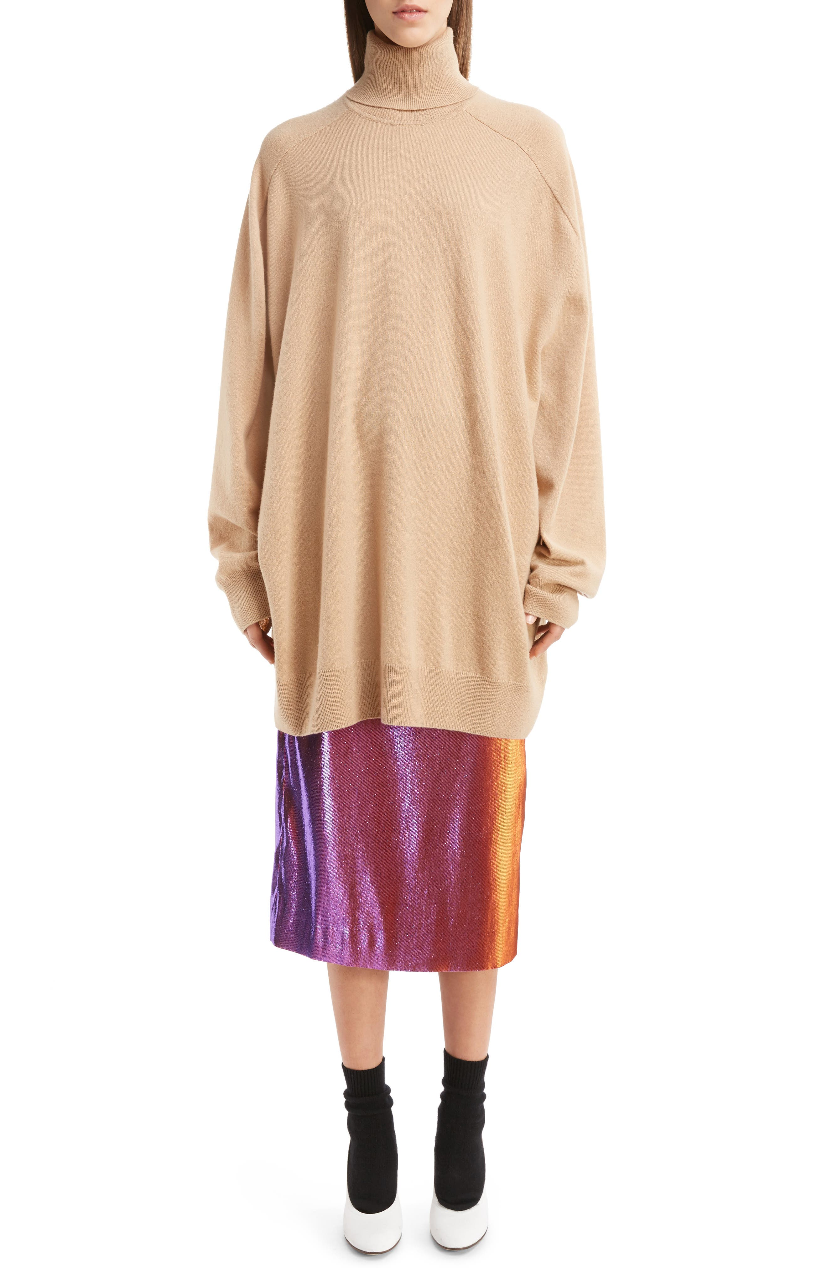 Oversized Cashmere Turtleneck Sweater,                             Alternate thumbnail 6, color,                             Camel