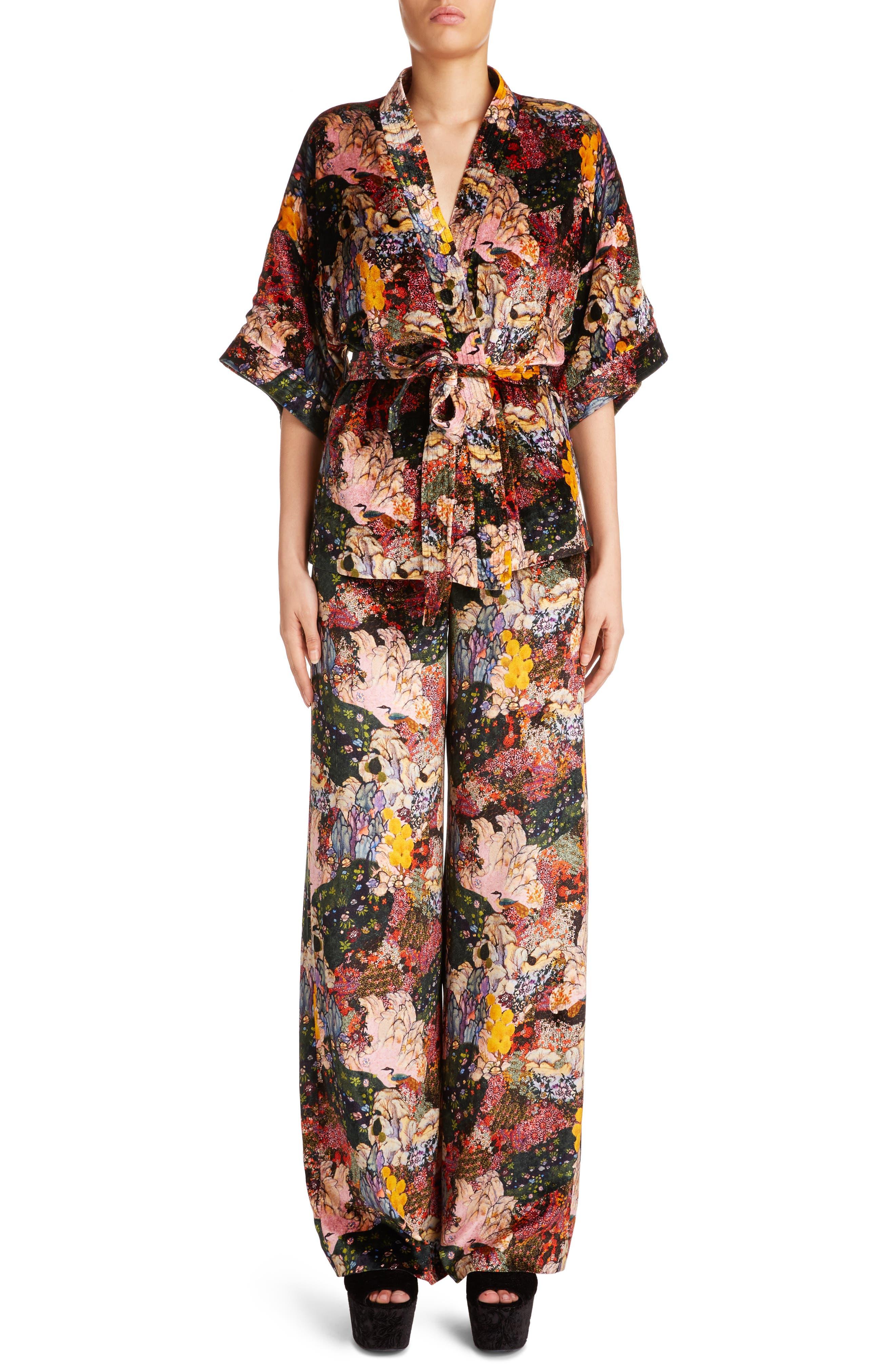 Zeta Floral Print Velvet Kimono Wrap Jacket,                         Main,                         color, Pink Multi