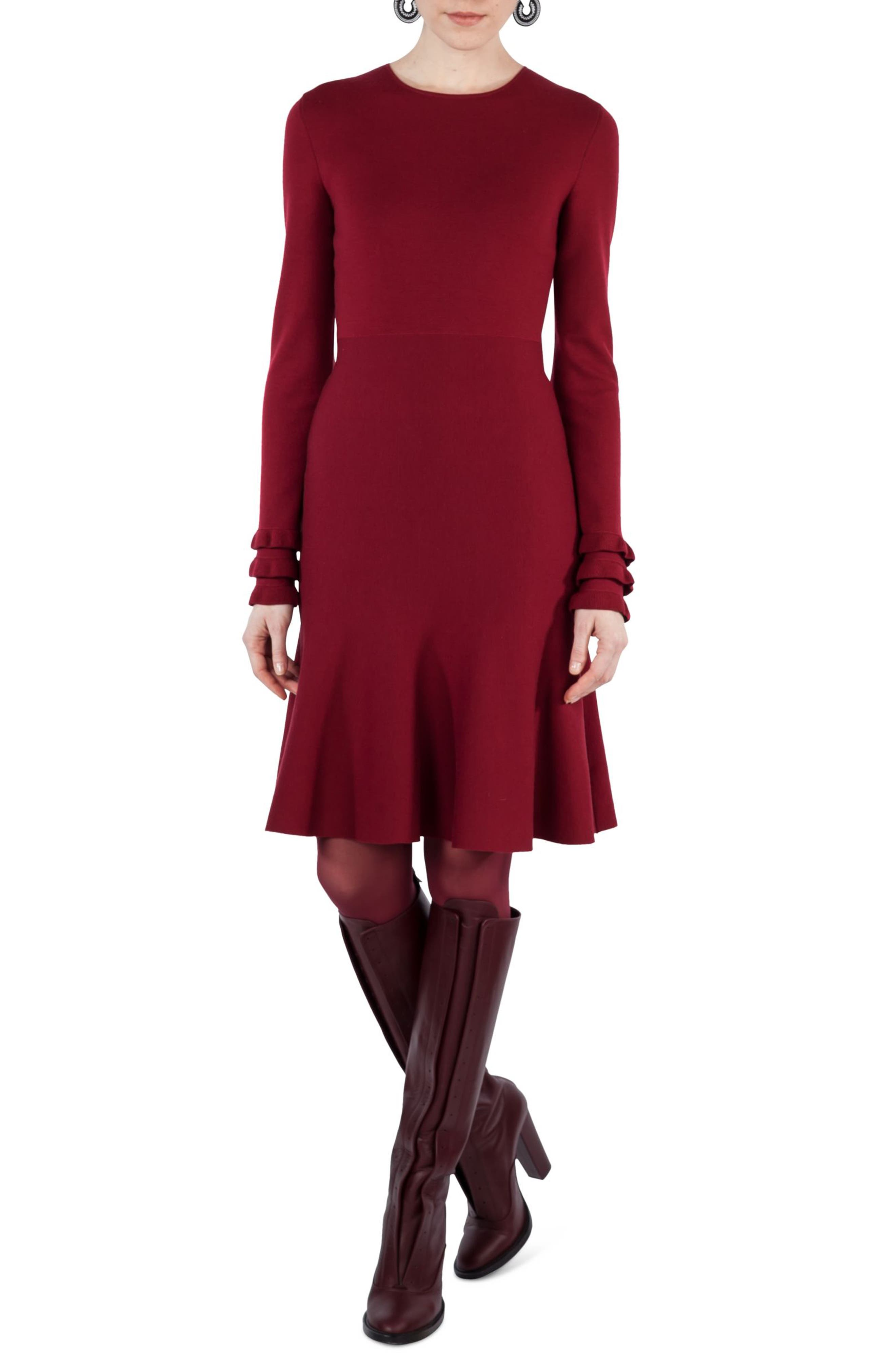 Knit Stretch Wool Dress,                         Main,                         color, Ruby