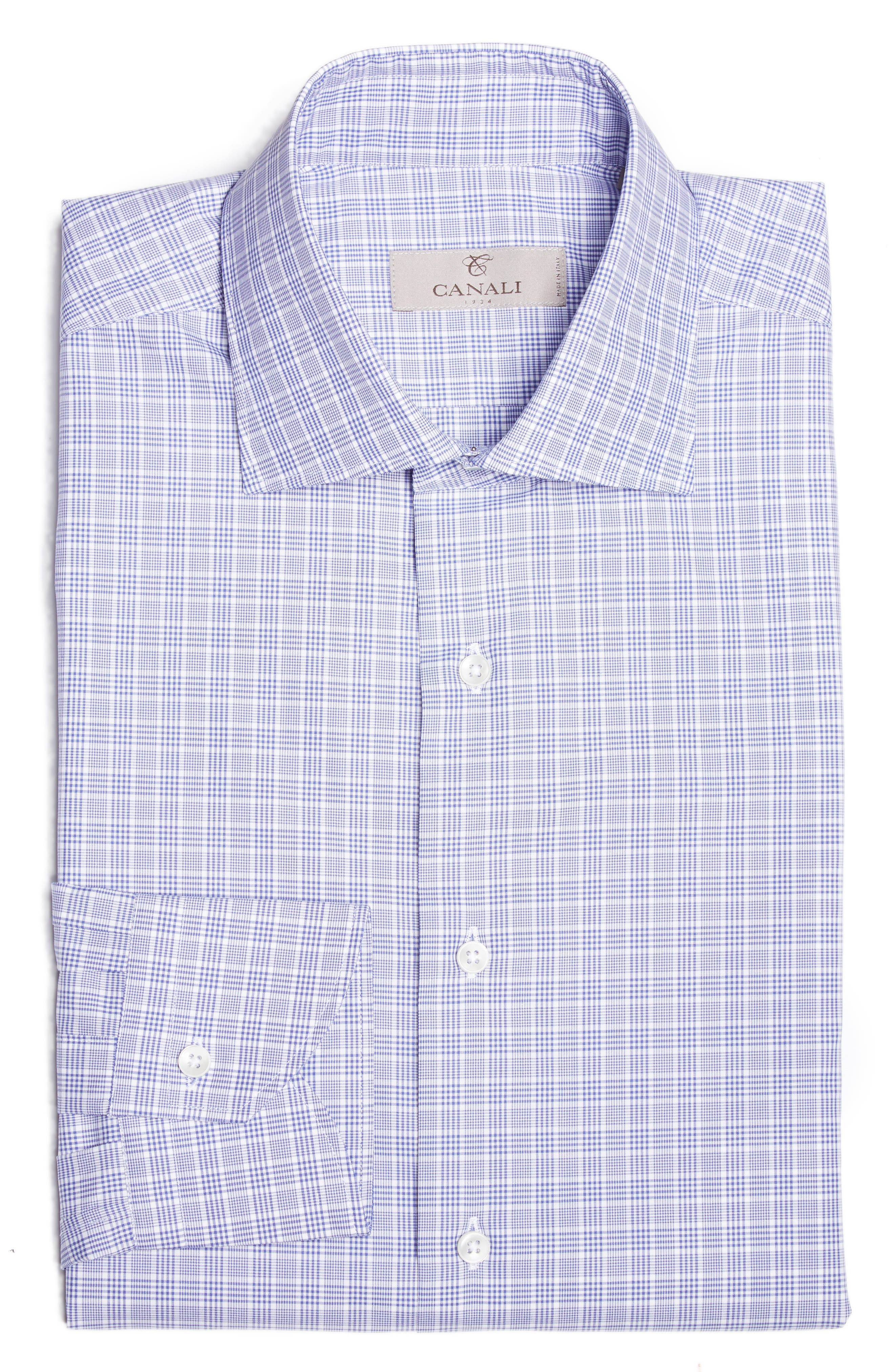 Alternate Image 1 Selected - Canali Regular Fit Plaid Dress Shirt