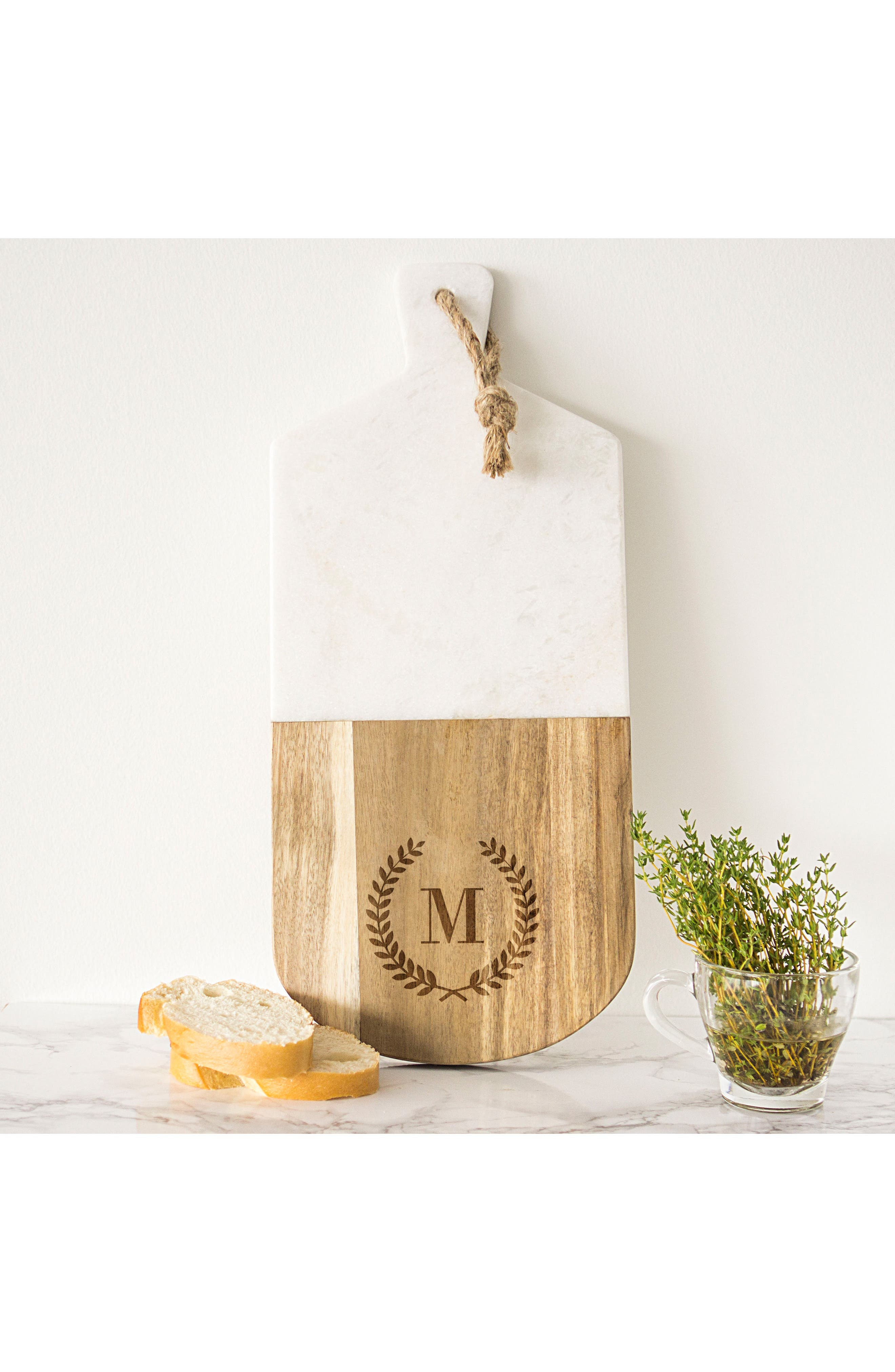 Monogram Marble & Wood Serving Board,                             Alternate thumbnail 5, color,