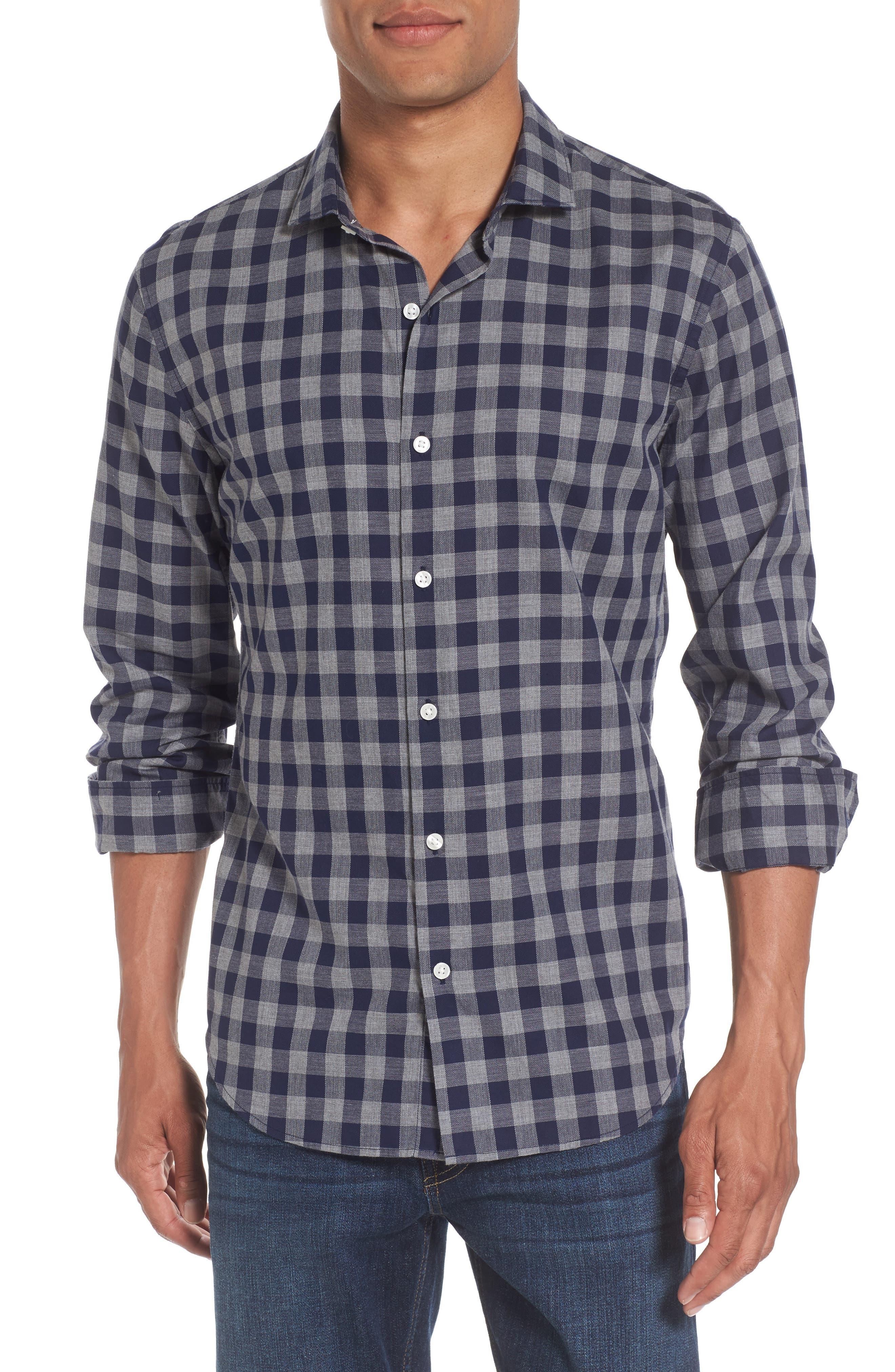 Unbutton Down Slim Fit Check Sport Shirt,                         Main,                         color, Dark Blue Gingham