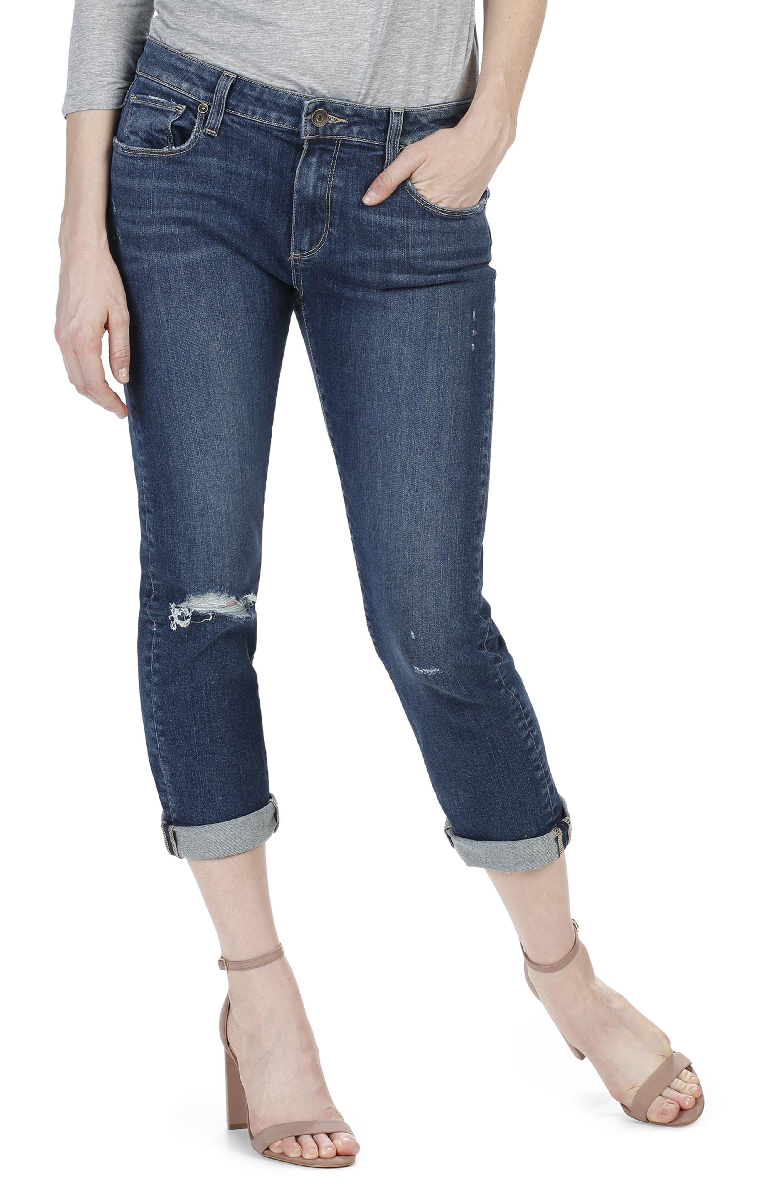 Brigitte Crop Boyfriend Jeans,                         Main,                         color, Addax Destructed