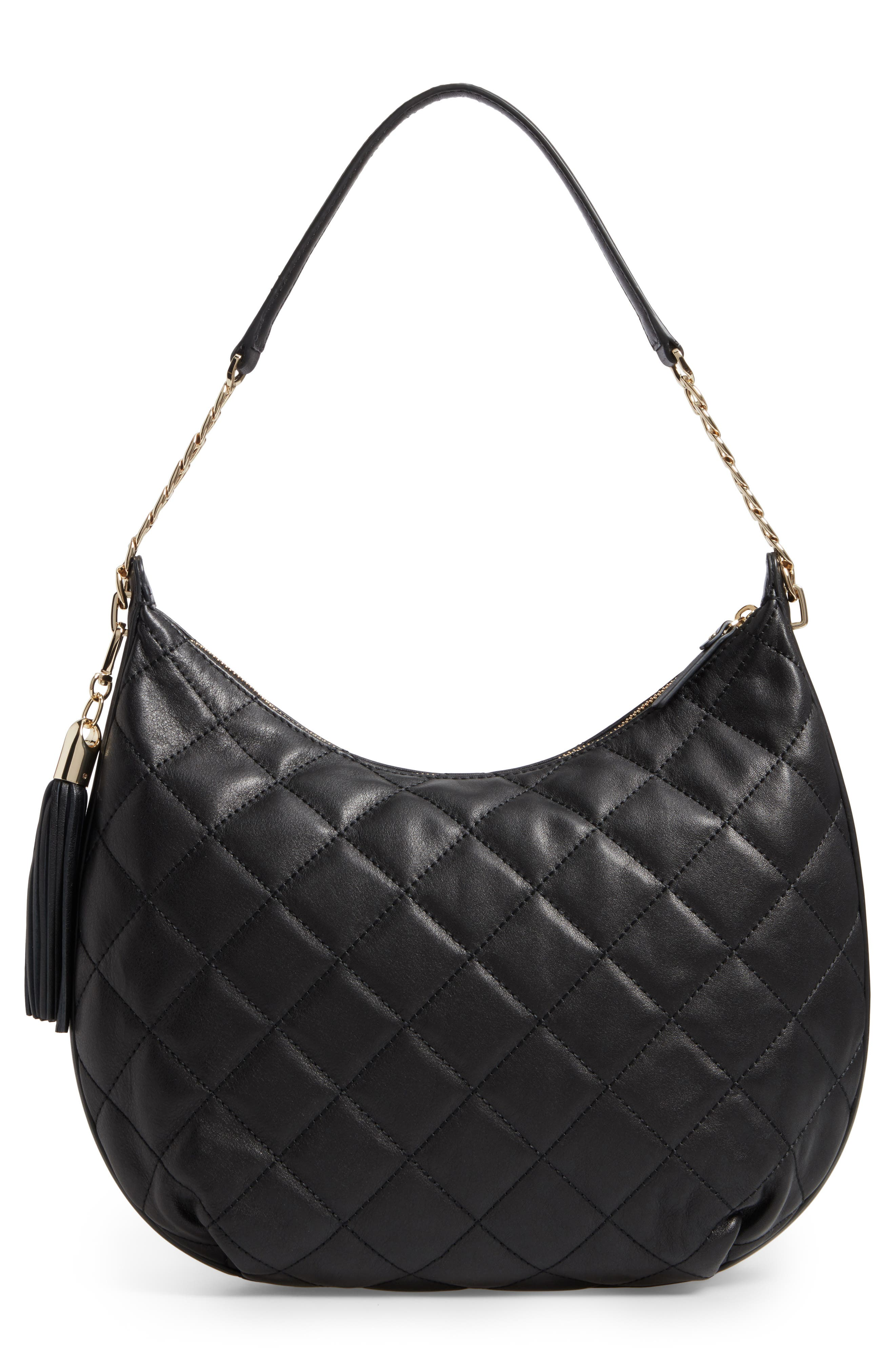 emerson place - tamsin leather hobo,                             Alternate thumbnail 3, color,                             Black