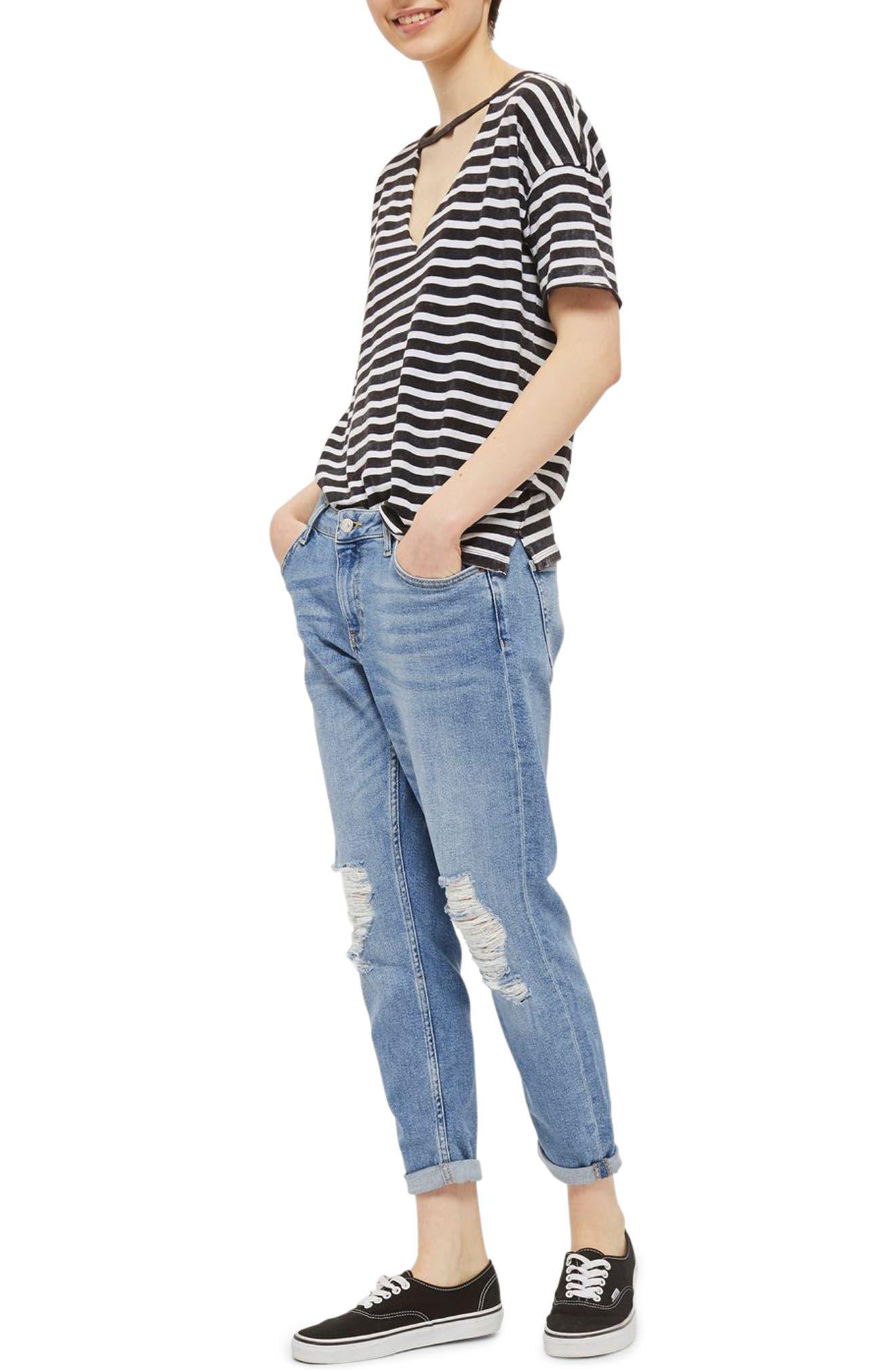 Lucas Rip Boyfriend Jeans,                         Main,                         color, Mid Denim