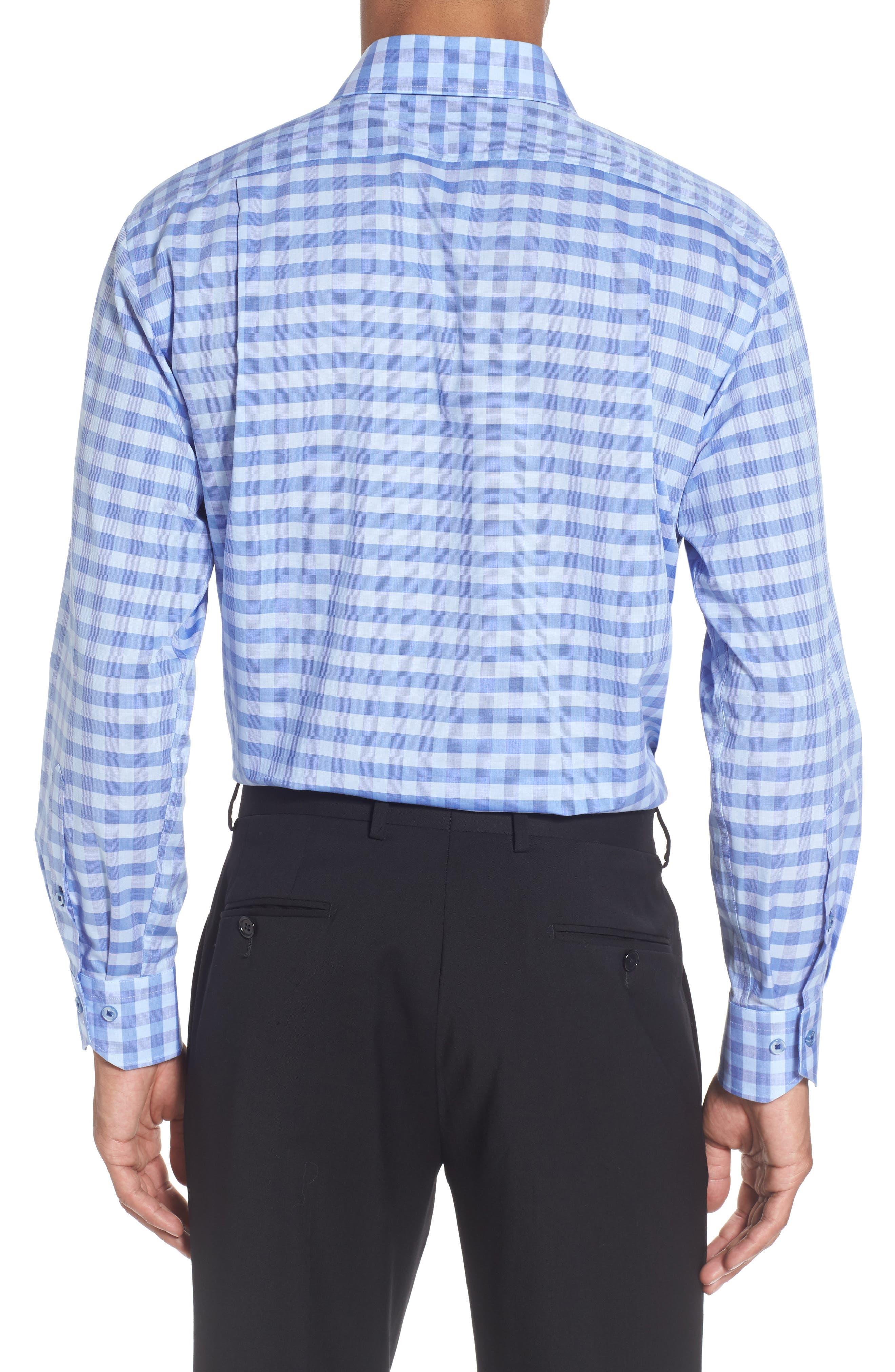 Trim Fit Check Dress Shirt,                             Alternate thumbnail 2, color,                             Blue/ Purple
