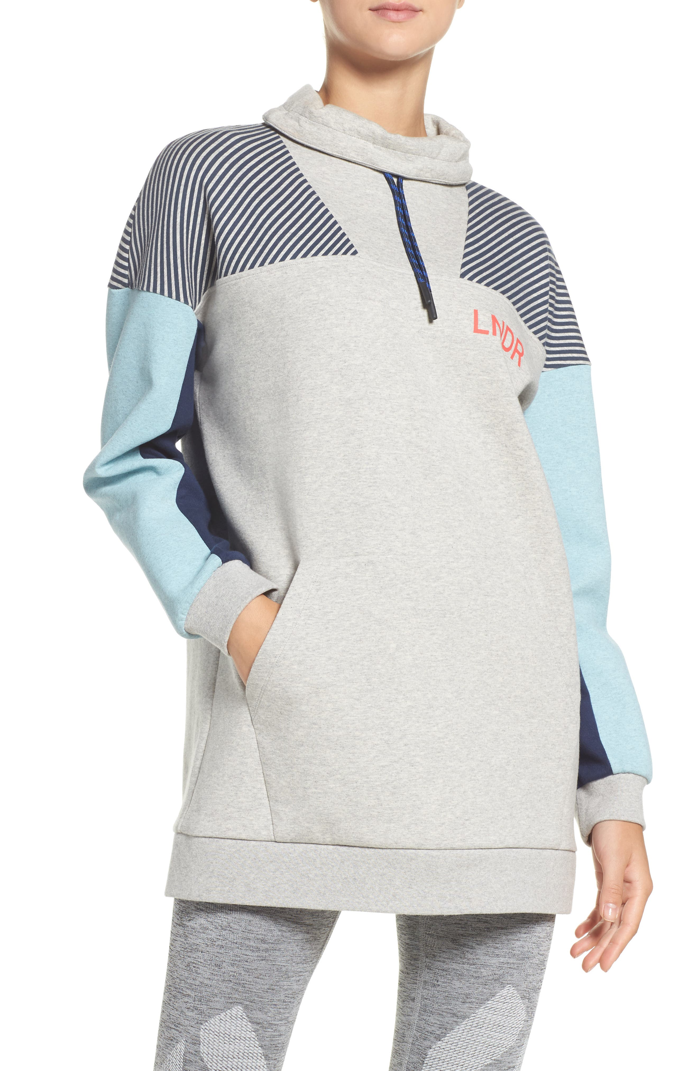 Noodie Funnel Neck Pullover,                         Main,                         color, Grey Marl