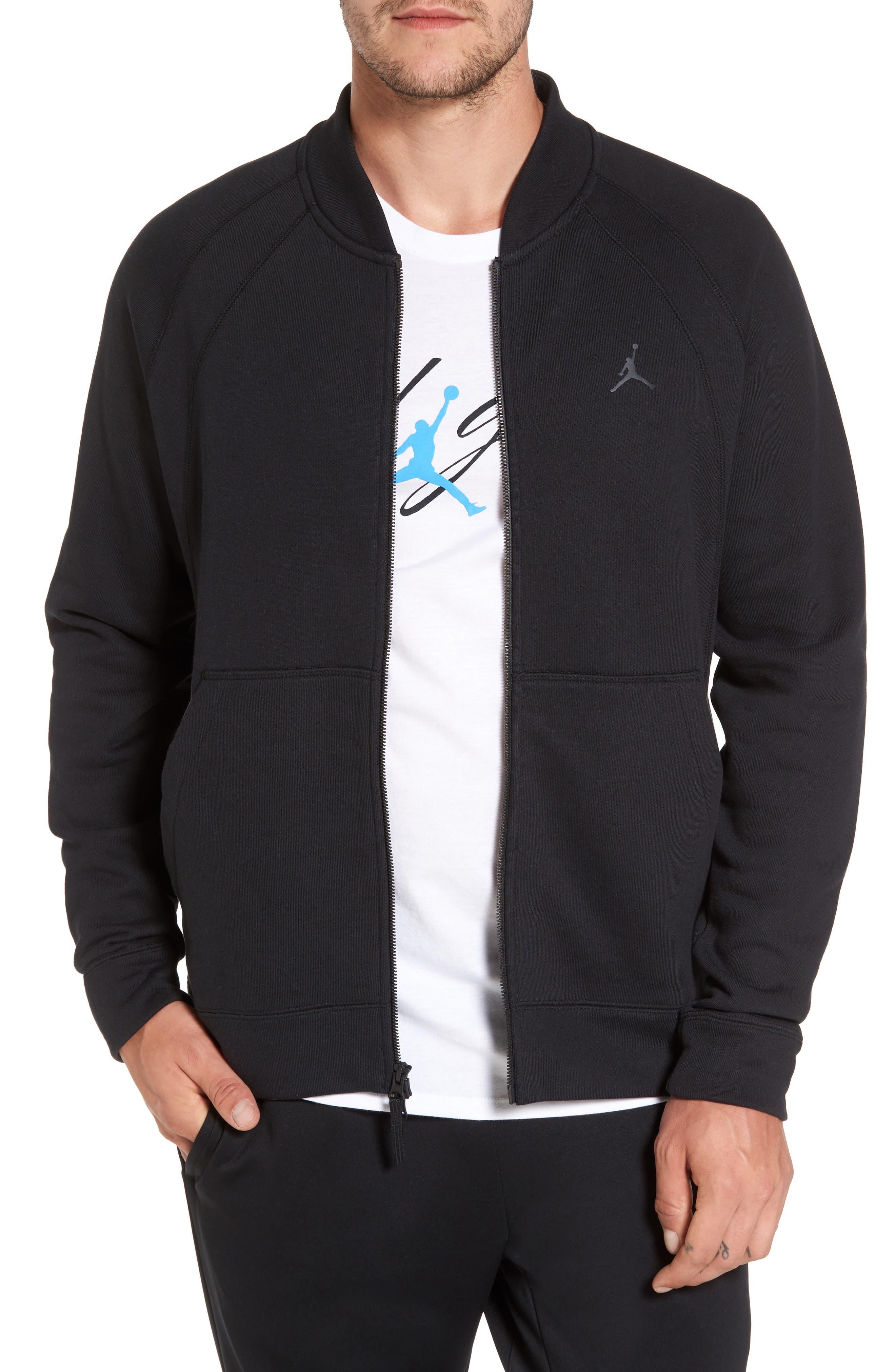 Sportswear Wings Fleece Bomber Jacket,                         Main,                         color, Black/ Black