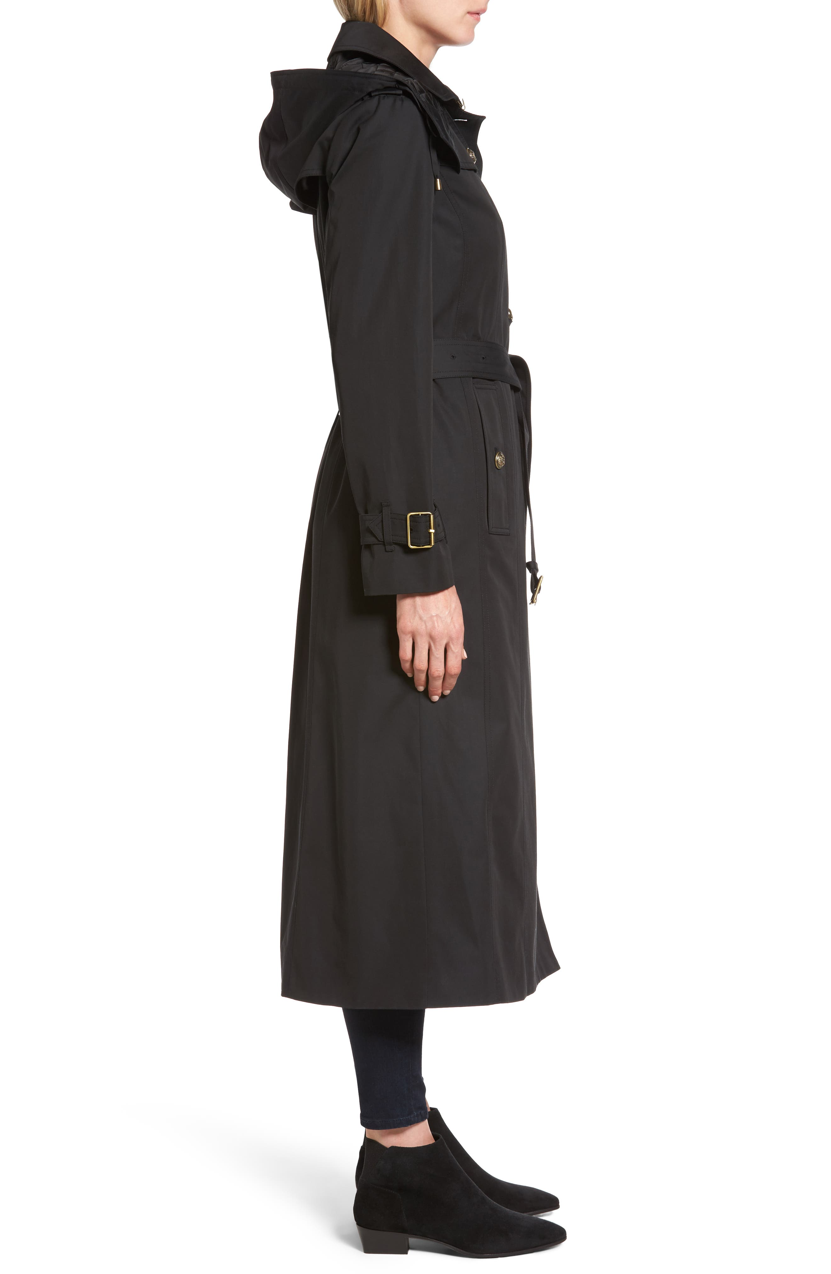 Hooded Single Breasted Long Trench Coat,                             Alternate thumbnail 3, color,                             Black
