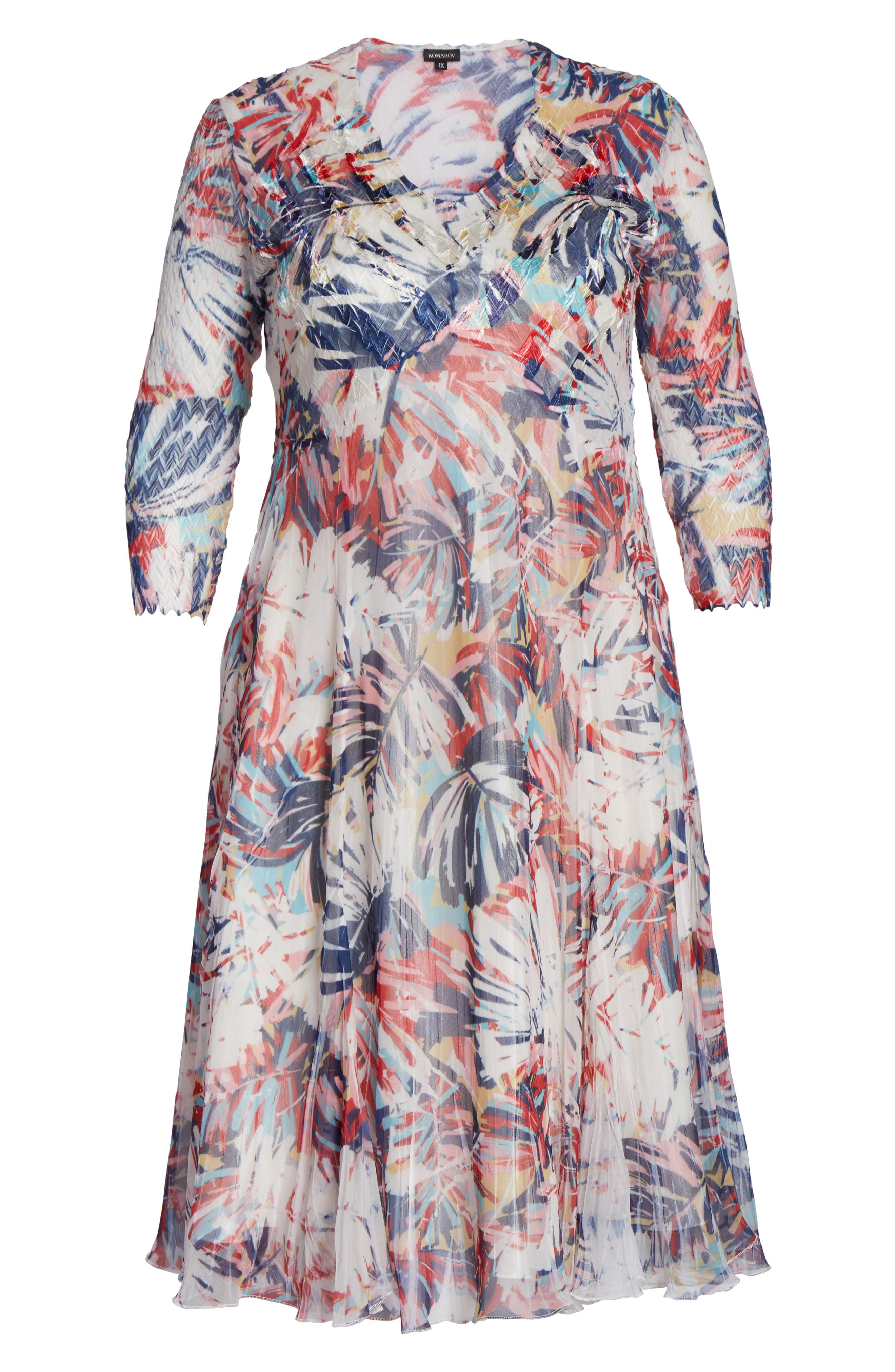 Alternate Image 6  - Komarov Print Chiffon A-Line Dress (Plus Size)