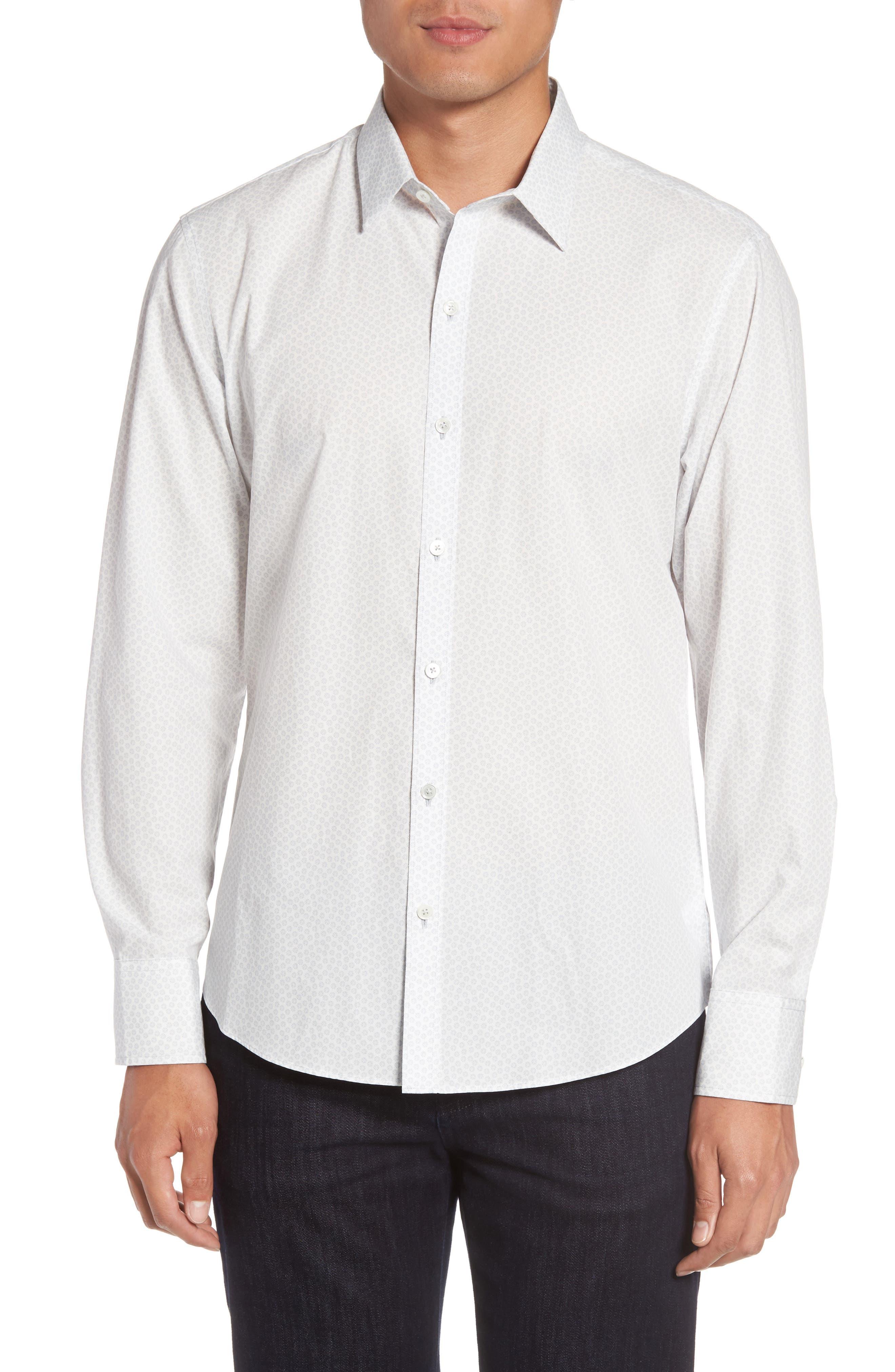 Owens Slim Fit Print Sport Shirt,                         Main,                         color, White