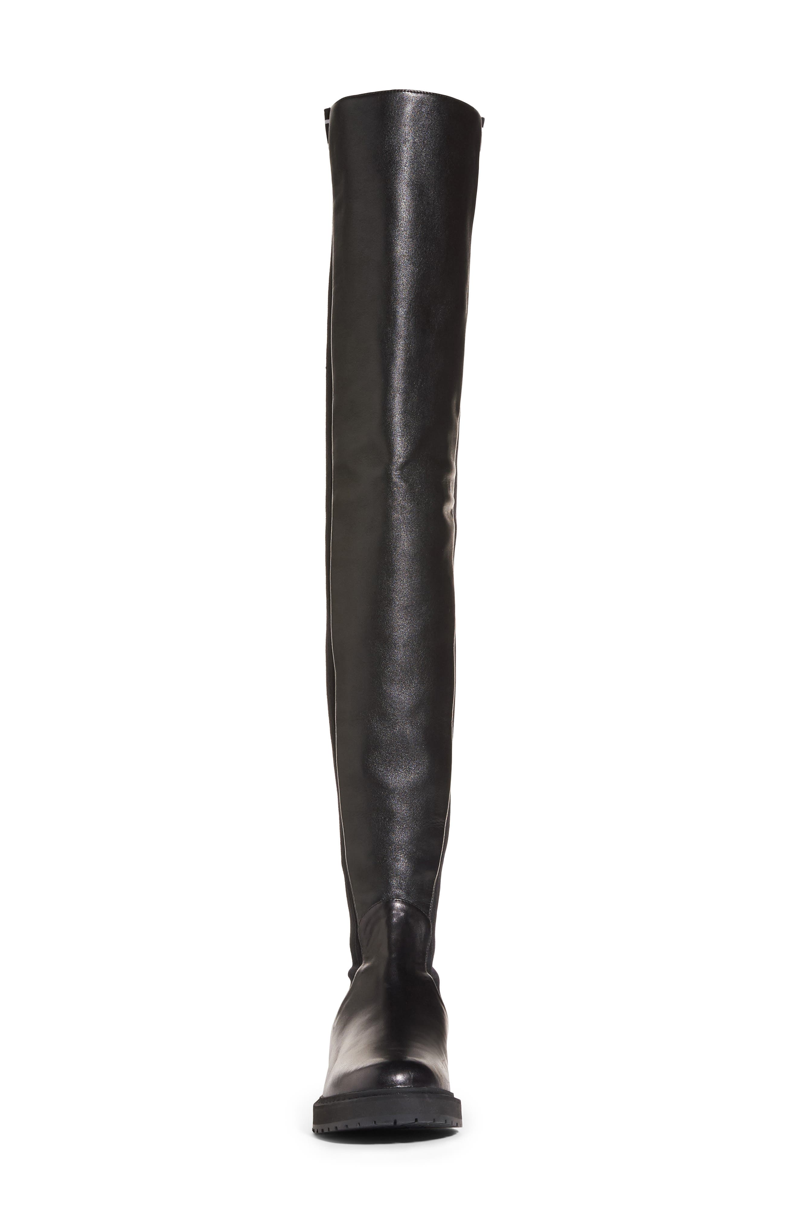 Logo Over the Knee Boot,                             Alternate thumbnail 3, color,                             Black Leather