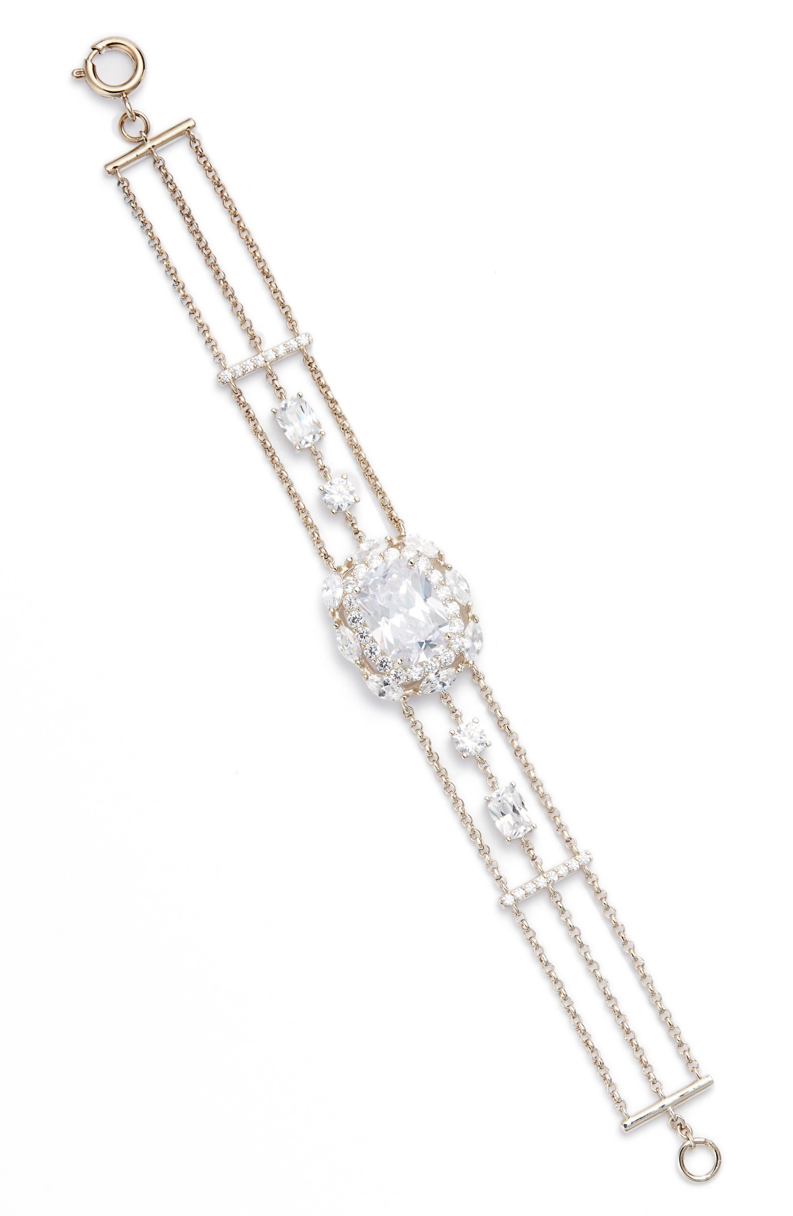 Estate Multirow Crystal Bracelet,                         Main,                         color, Silver
