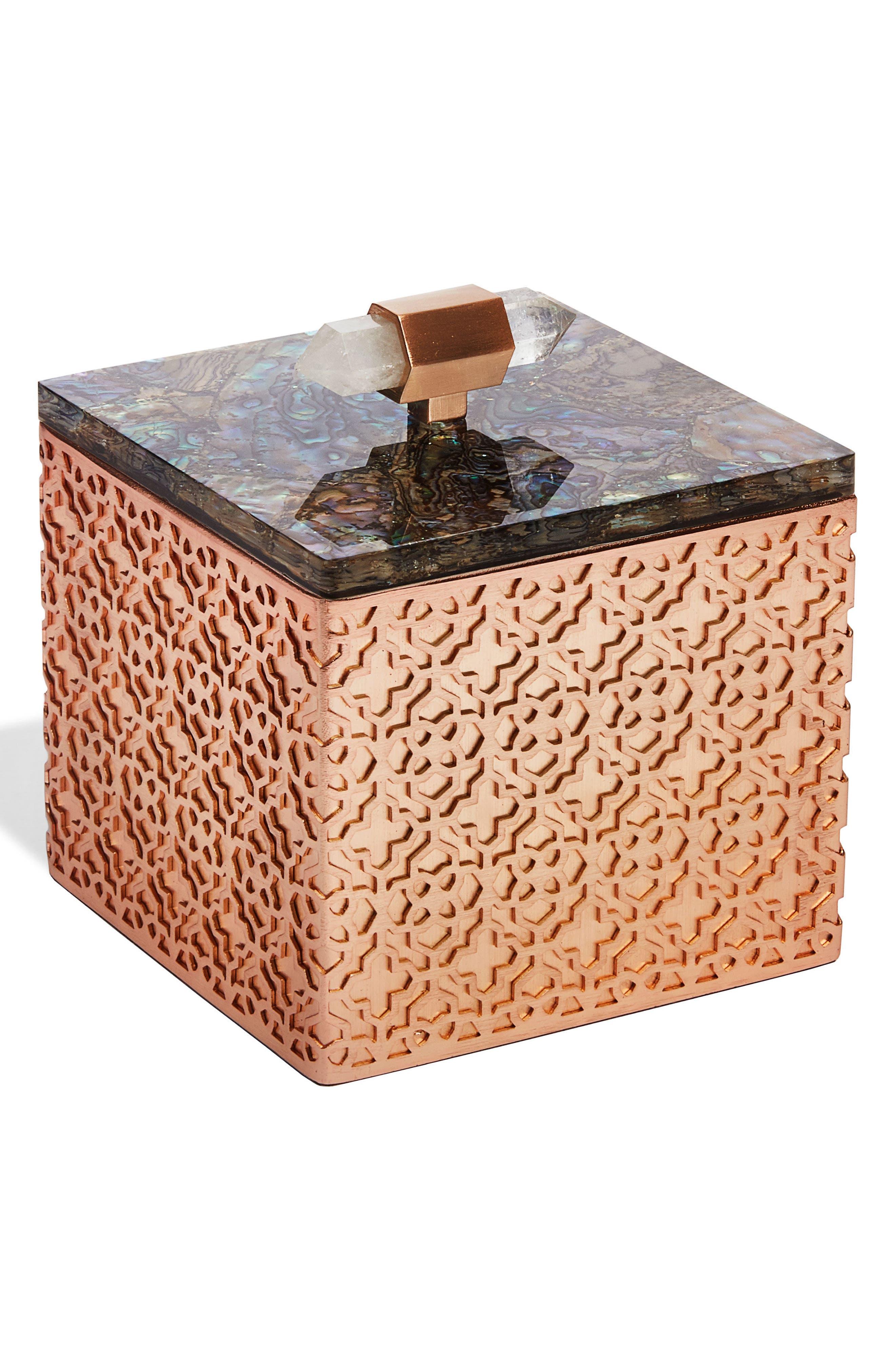 Square Filigree Stone Box,                         Main,                         color, Crackle Abalone
