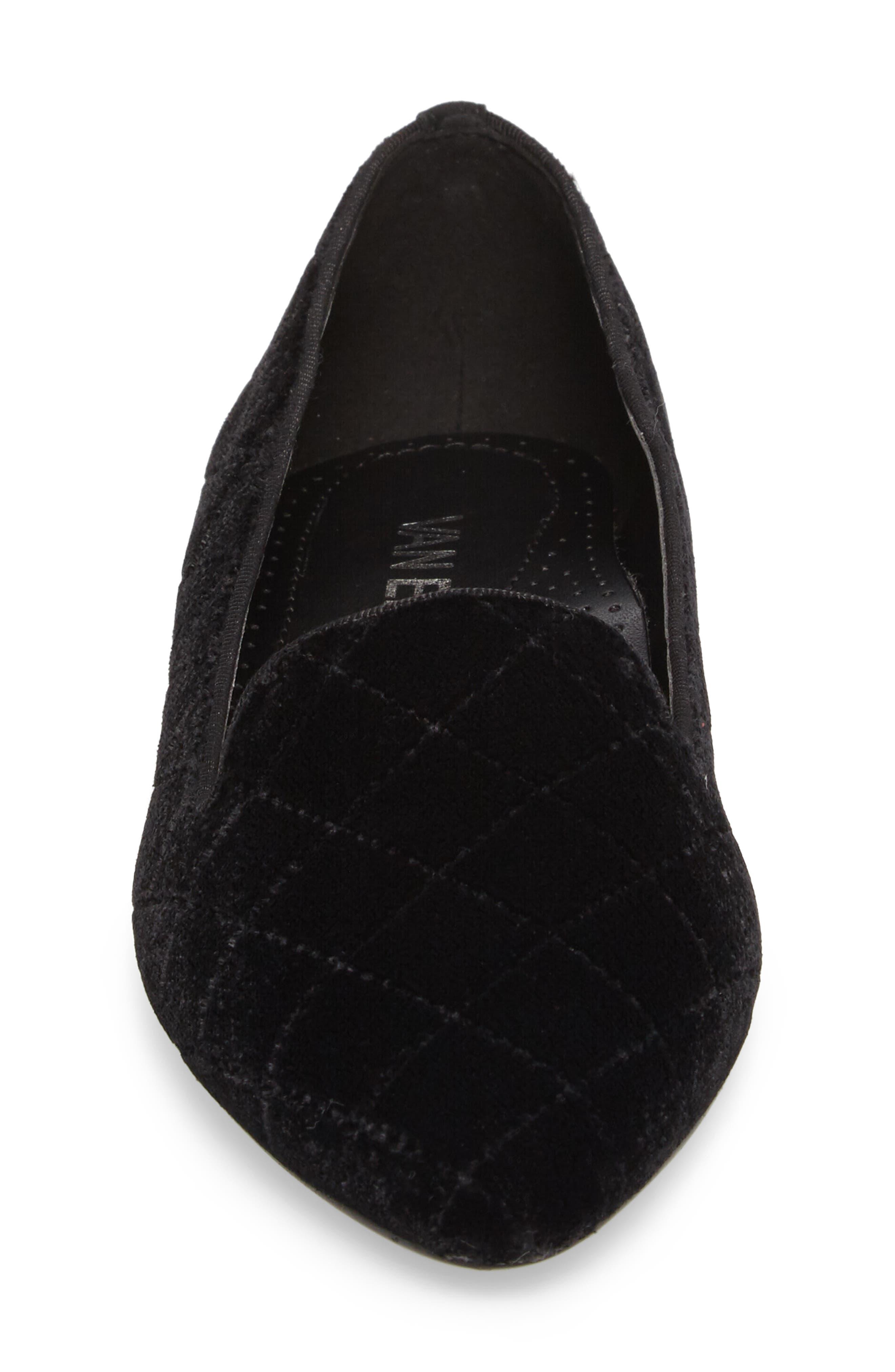 Gannie Diamond Pattern Loafer,                             Alternate thumbnail 4, color,                             Black Velvet Fabric