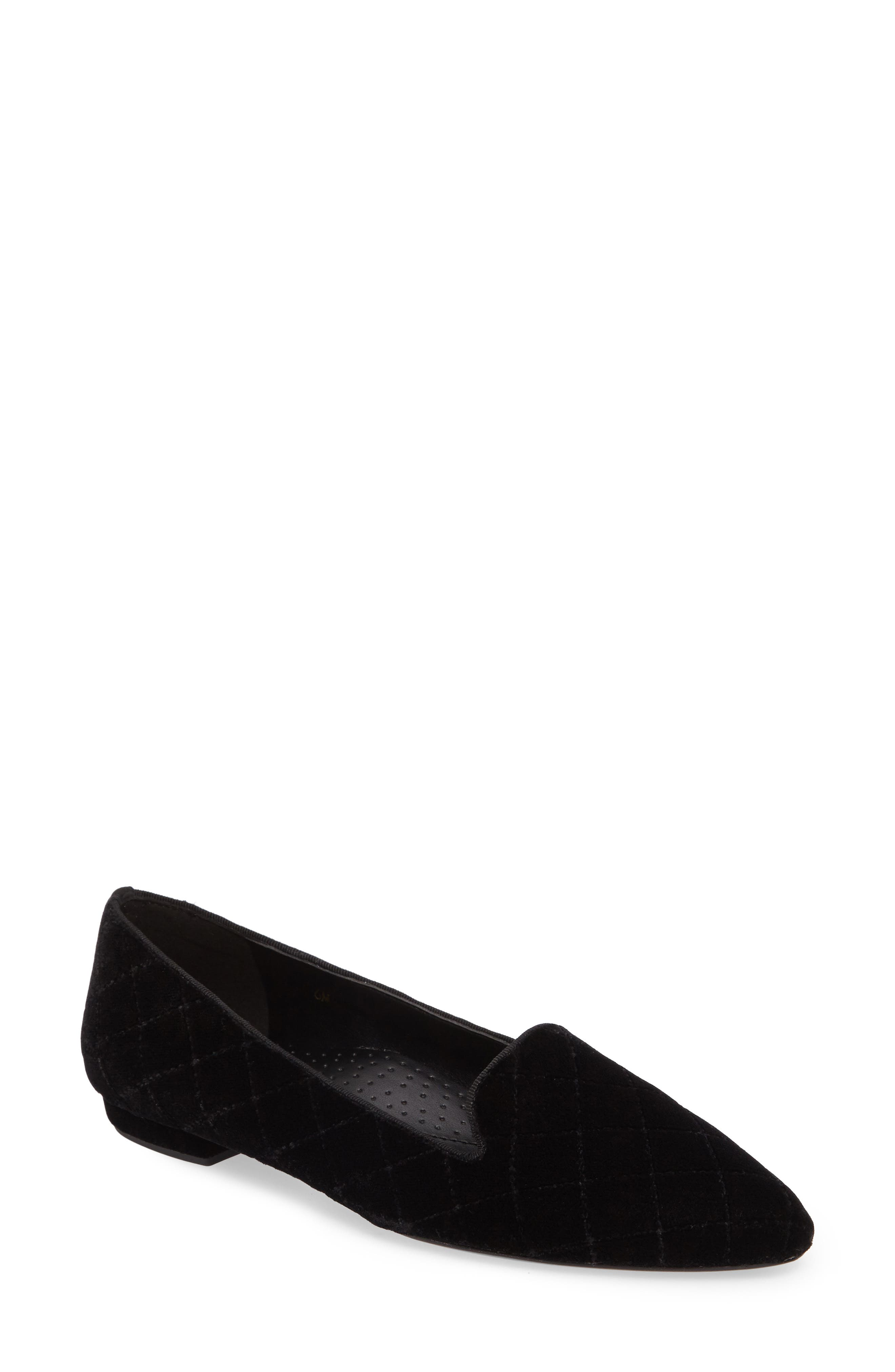 Gannie Diamond Pattern Loafer,                         Main,                         color, Black Velvet Fabric