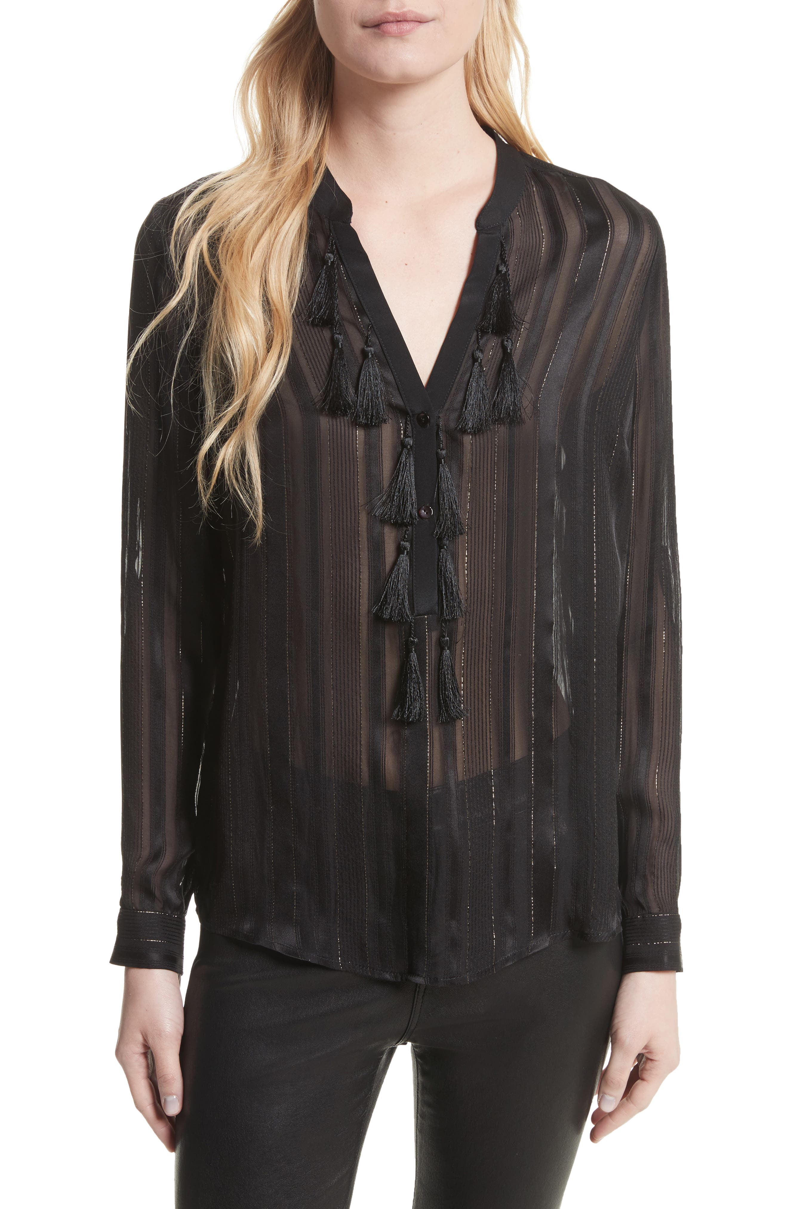 Nadja Tassel Blouse,                             Main thumbnail 1, color,                             Black/ Gold