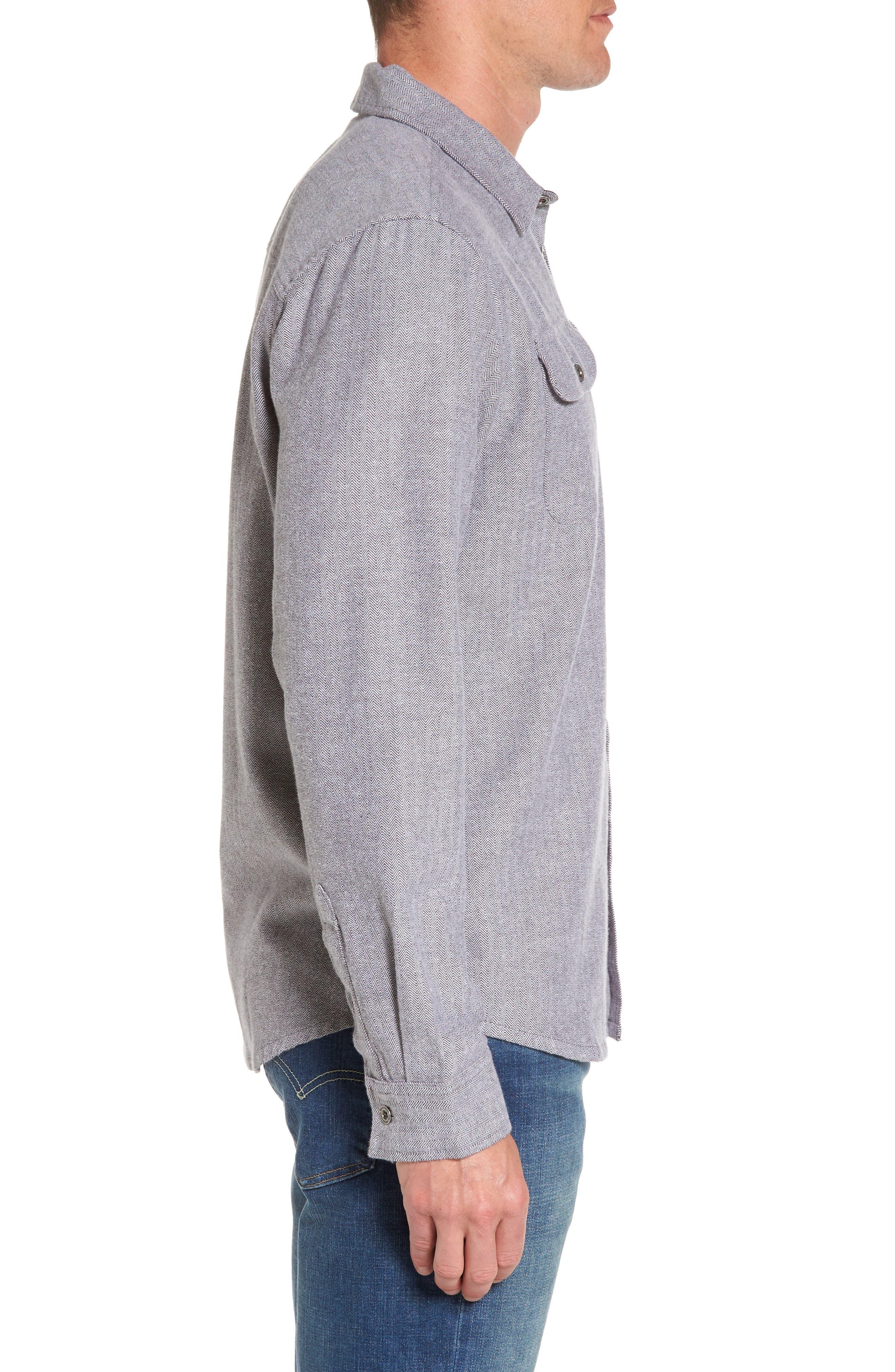 Lybek Regular Fit Herringbone Flannel Shirt,                             Alternate thumbnail 3, color,                             Gravel