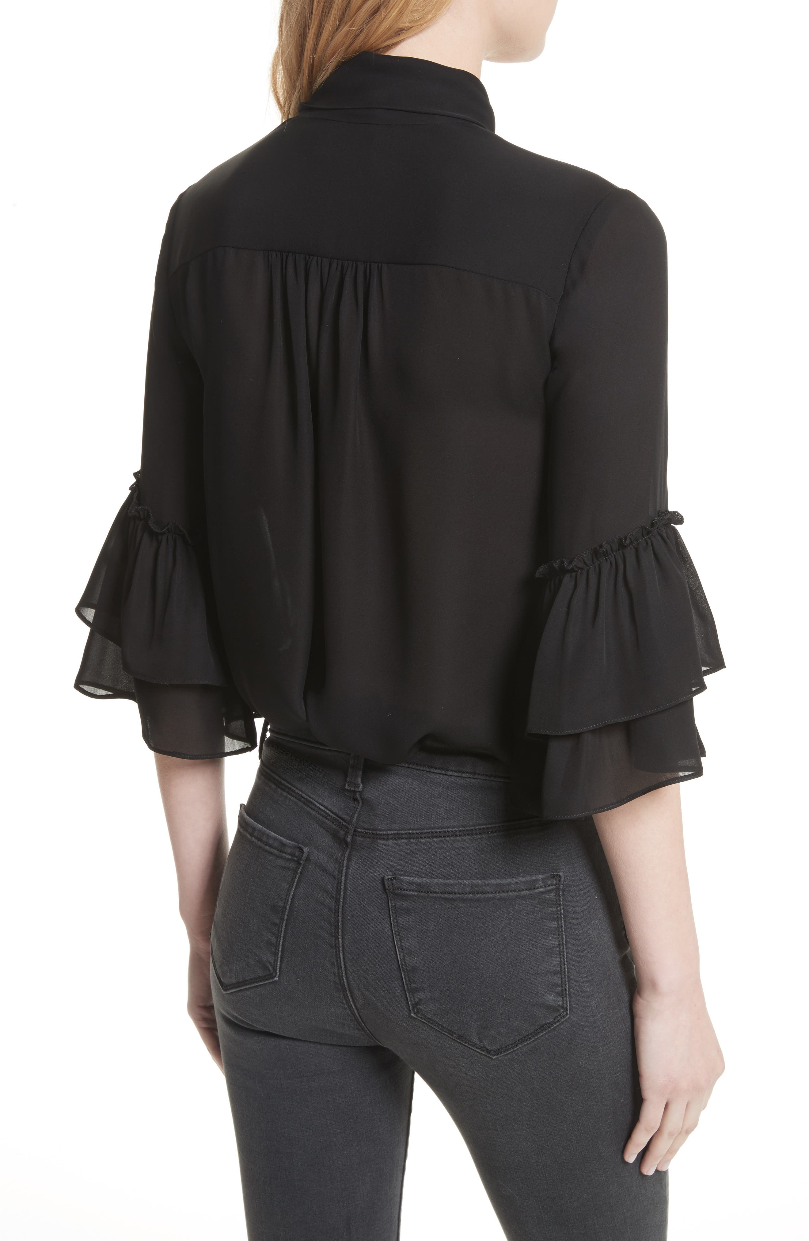 Alternate Image 2  - L'AGENCE Desa Ruffle Sleeve Silk Blouse