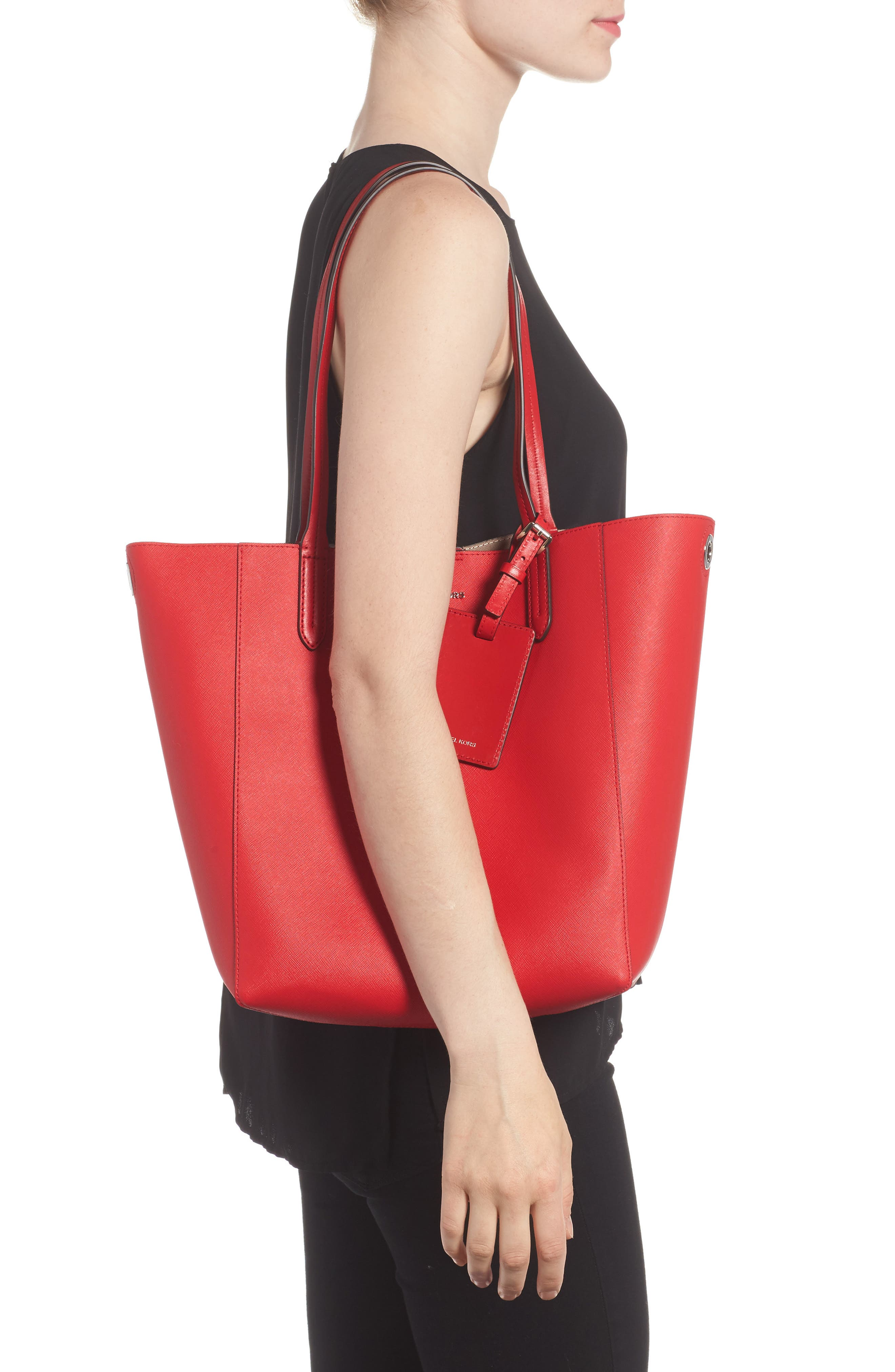 Penny Large Saffiano Convertible Leather Tote,                             Alternate thumbnail 2, color,                             Bright Red