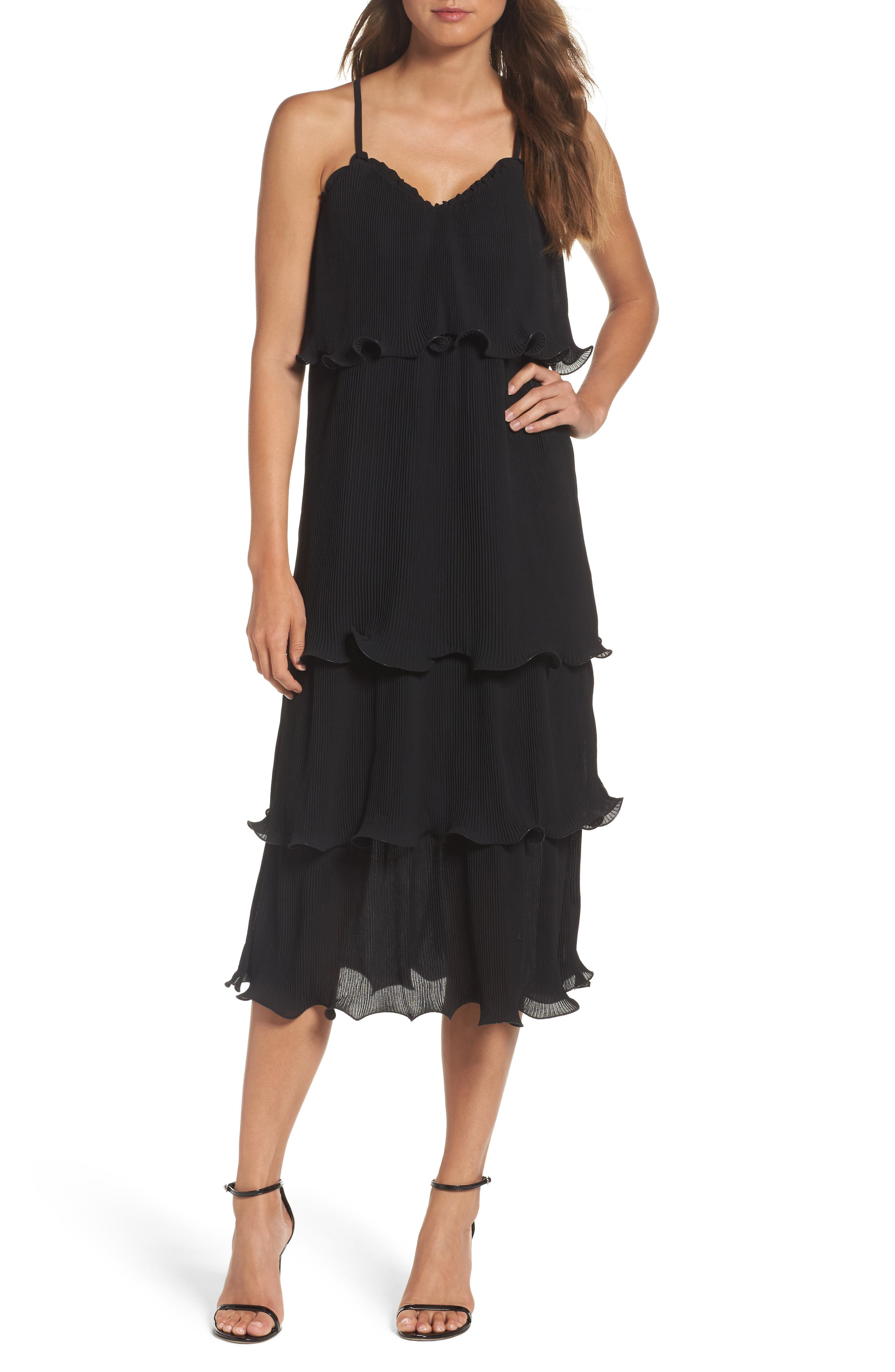 Tiered Midi Dress,                         Main,                         color, Black