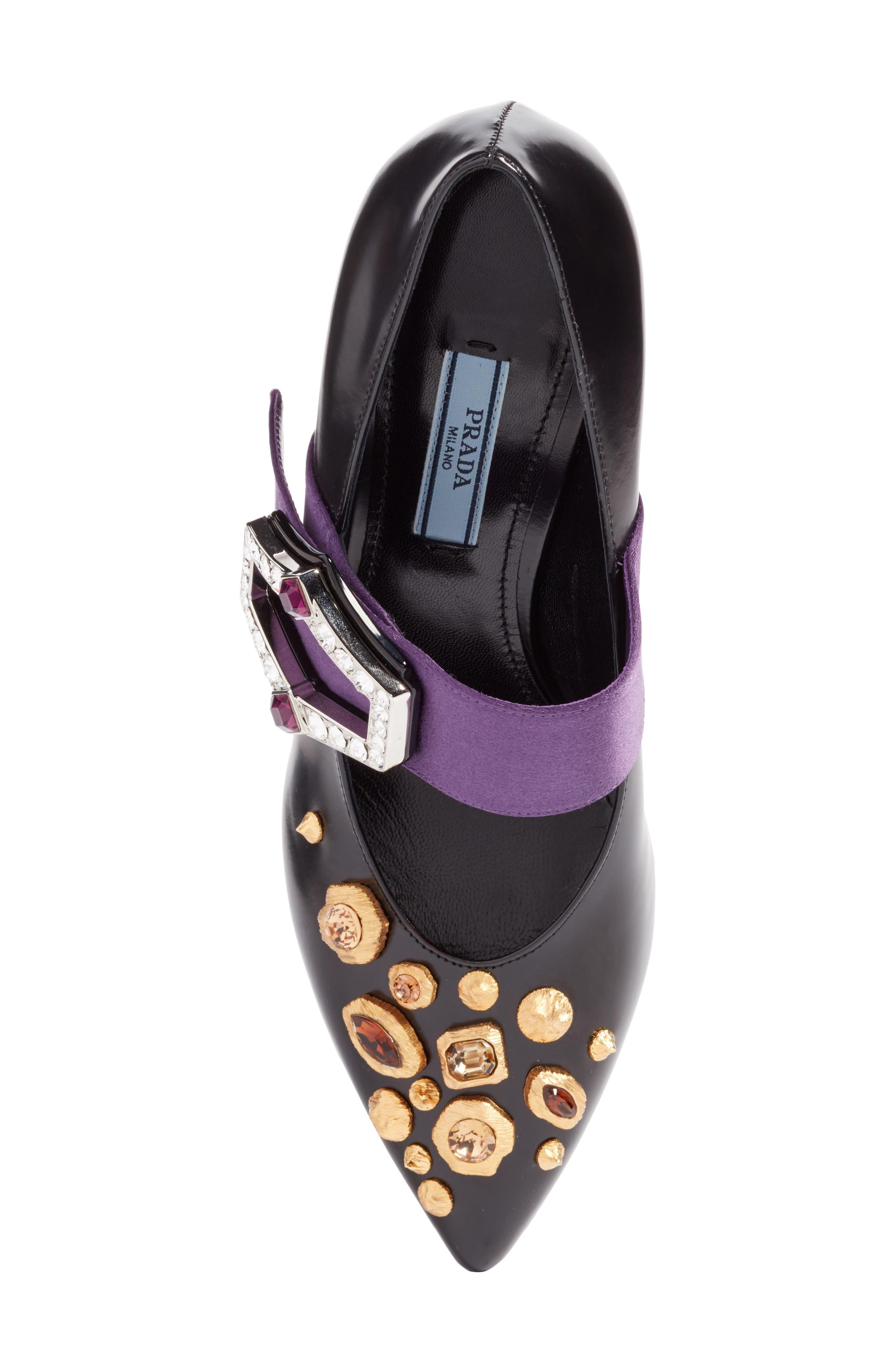 Jeweled Mary Jane Pump,                             Alternate thumbnail 5, color,                             Black/ Purple