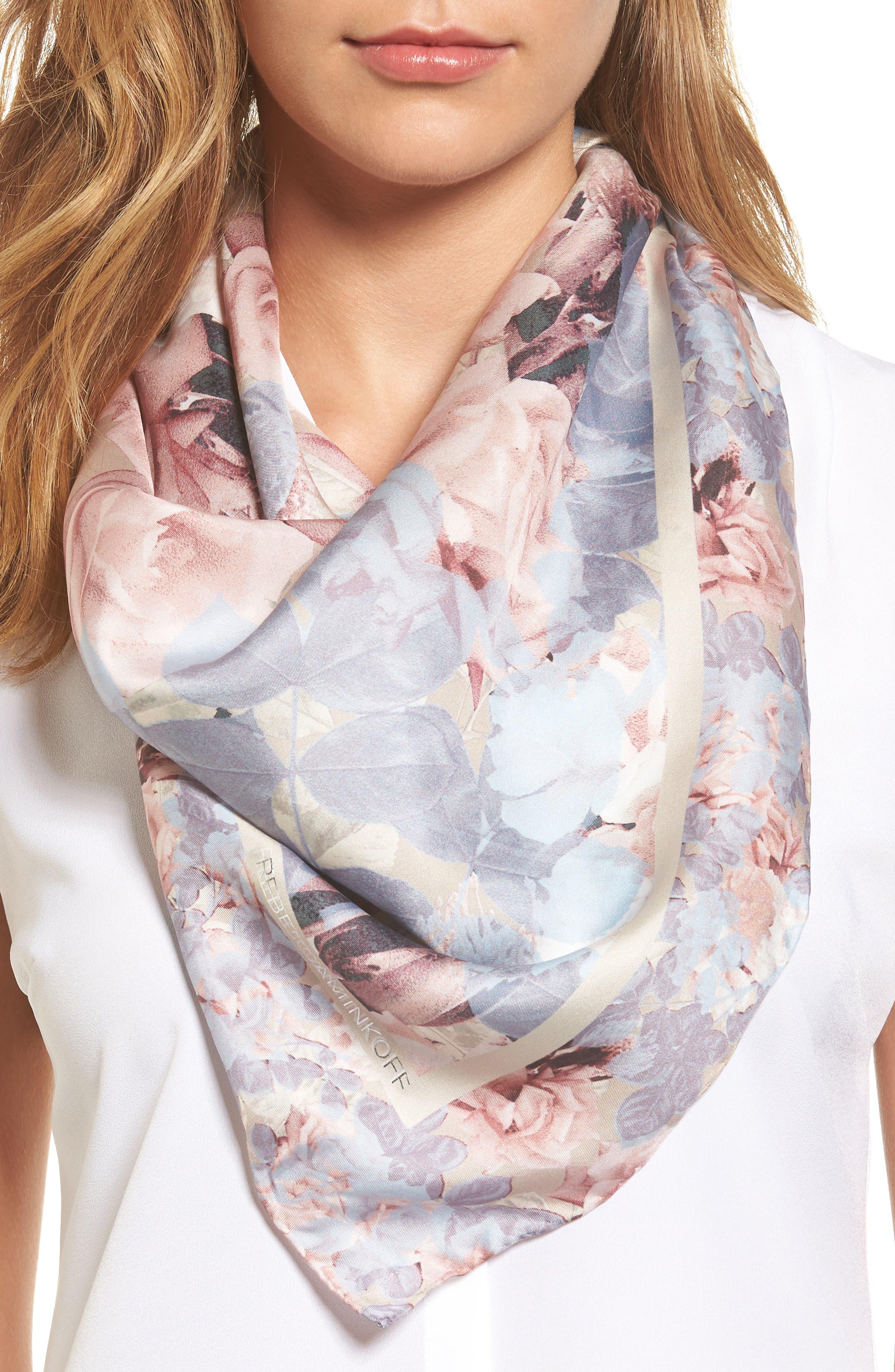 Rebecca Minkoff Vintage Rose Square Silk Scarf