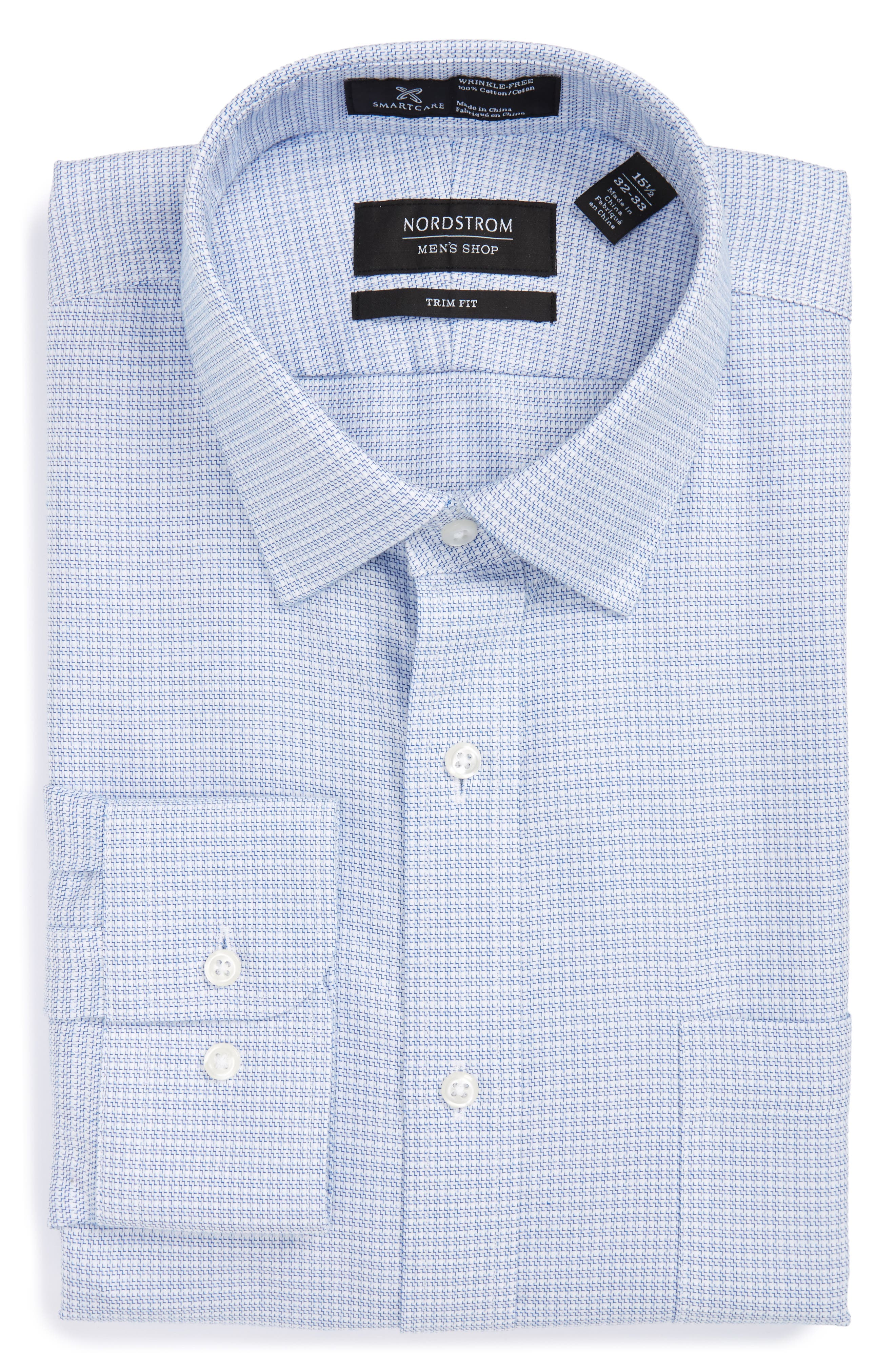 Smartcare<sup>™</sup> Trim Fit Dress Shirt,                         Main,                         color, Blue Nautical