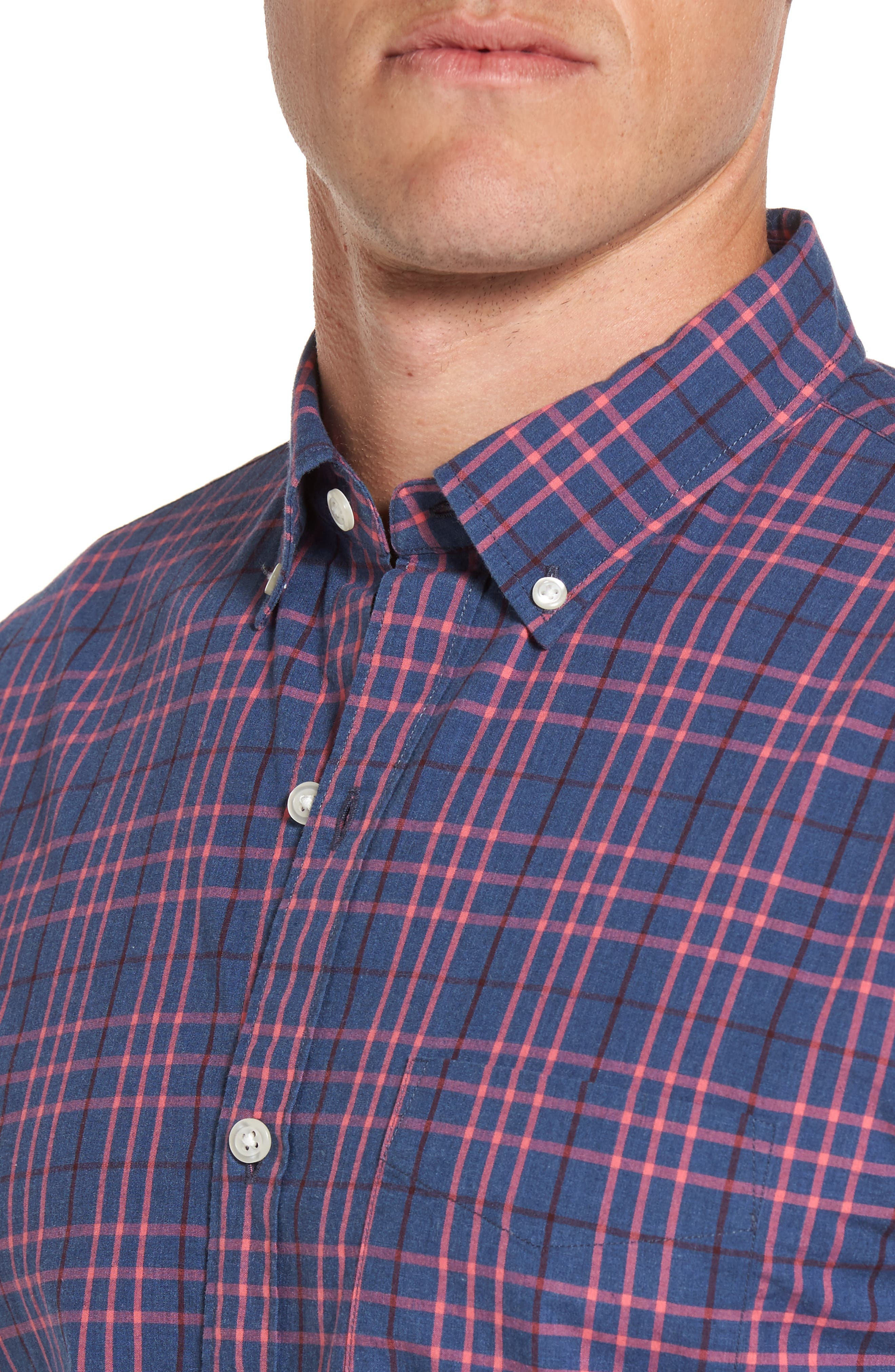 Slim Fit Washed Plaid Sport Shirt,                             Alternate thumbnail 4, color,                             Coral Ribbon Check