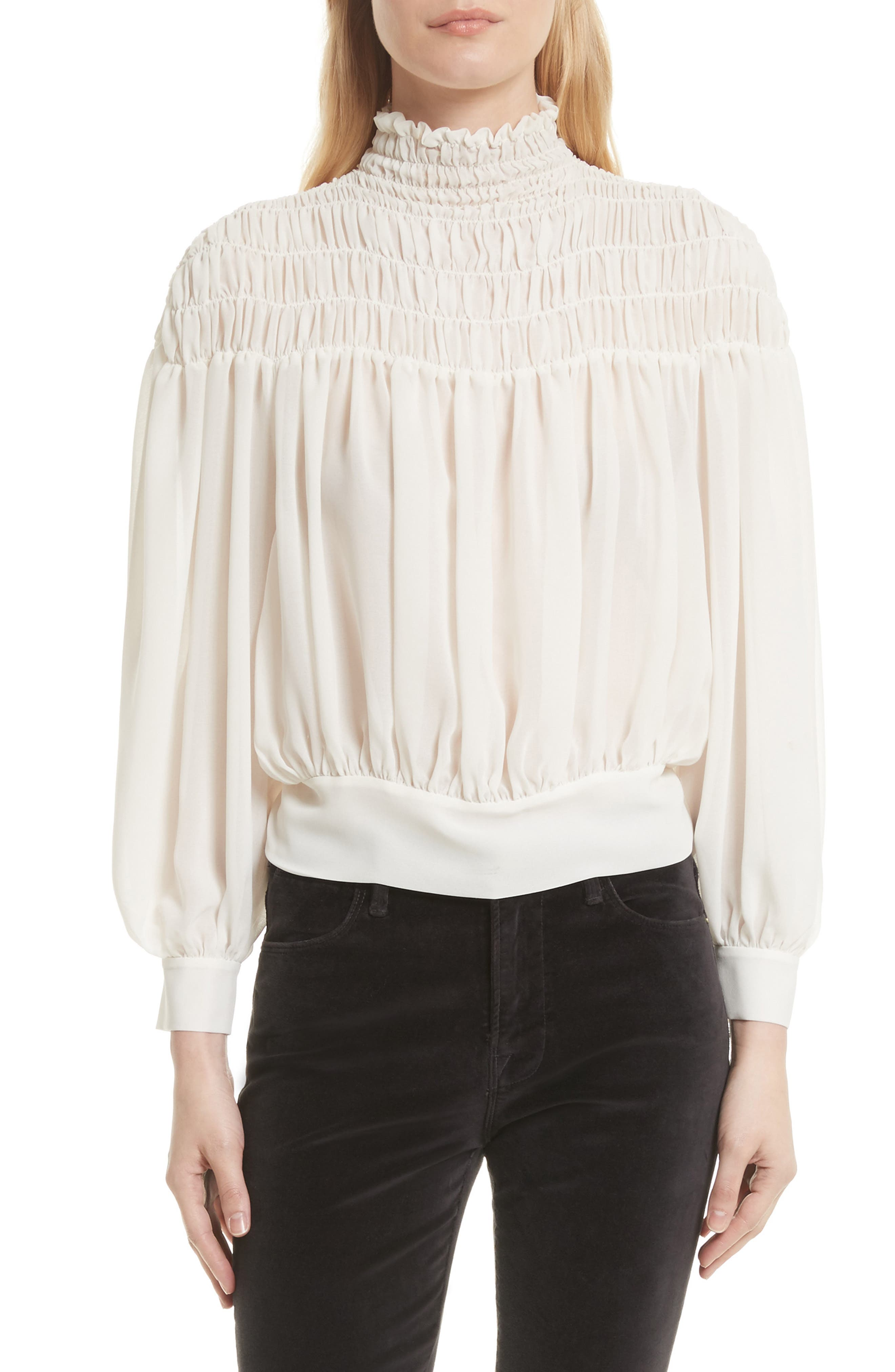 Smocked Tie Back Blouse,                             Main thumbnail 1, color,                             Off White