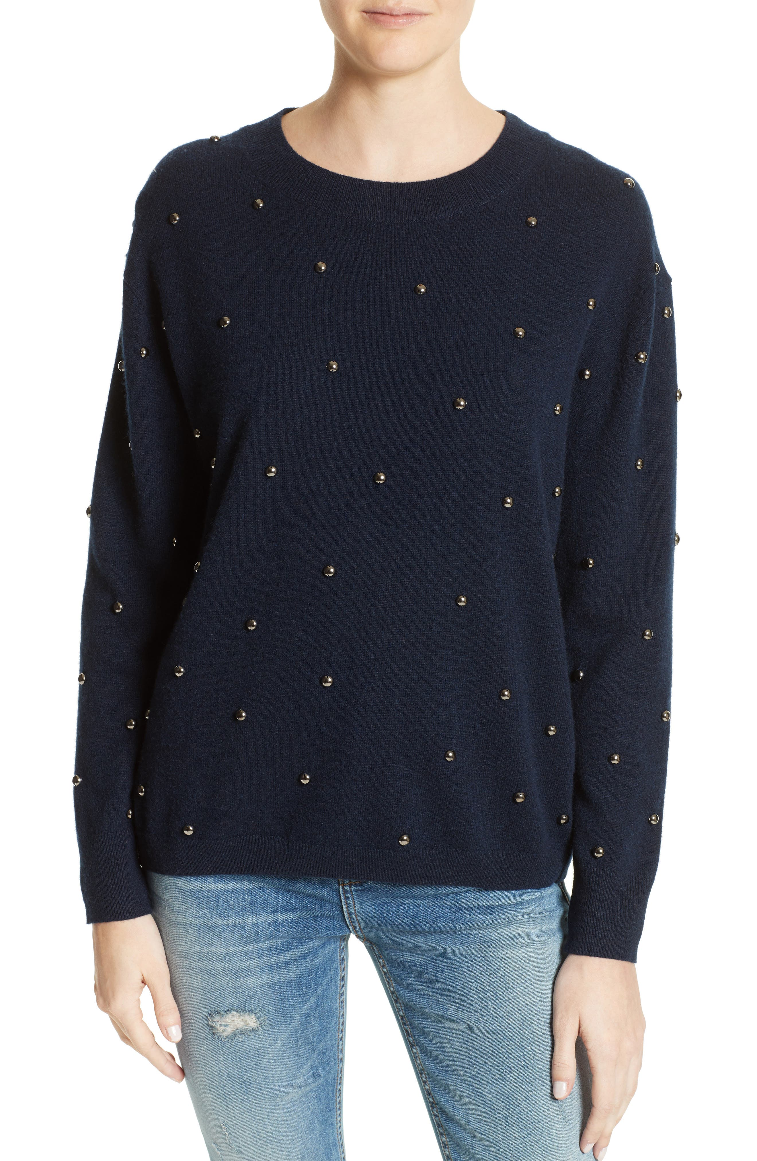 Embellished Wool & Cashmere Sweater,                             Main thumbnail 1, color,                             Navy