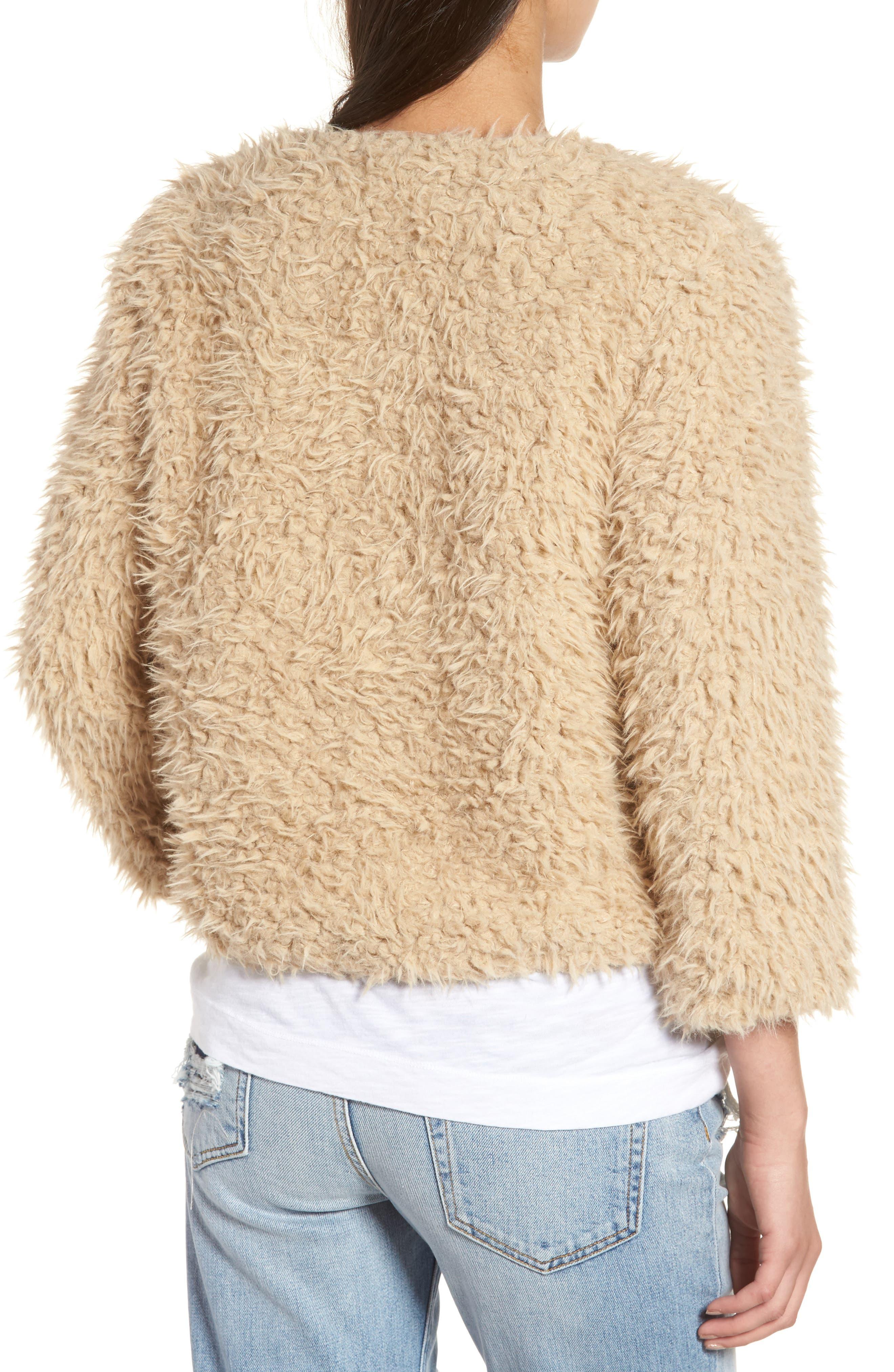 Macy Faux Fur Jacket,                             Alternate thumbnail 2, color,                             Light Camel