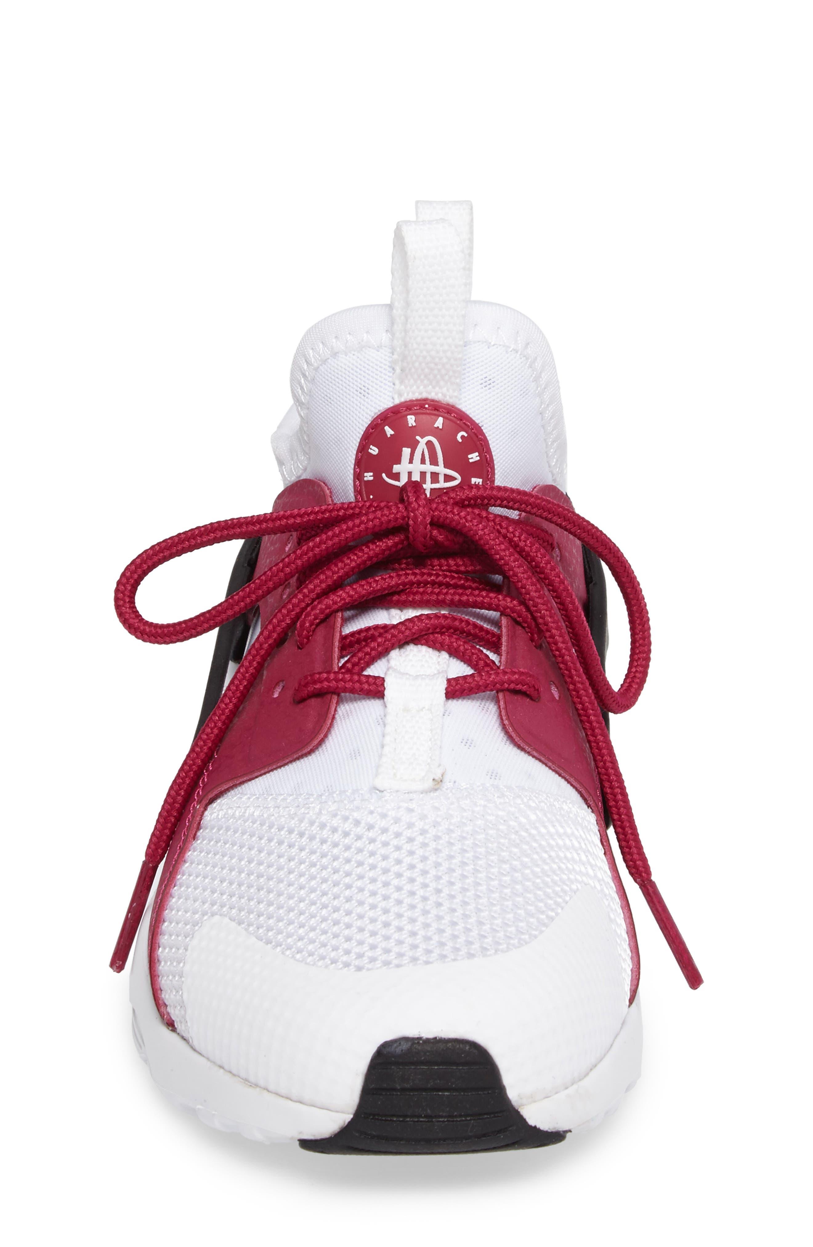 Air Huarache Run Ultra Sneaker,                             Alternate thumbnail 4, color,                             White/ Sport Fuchsia/ Black